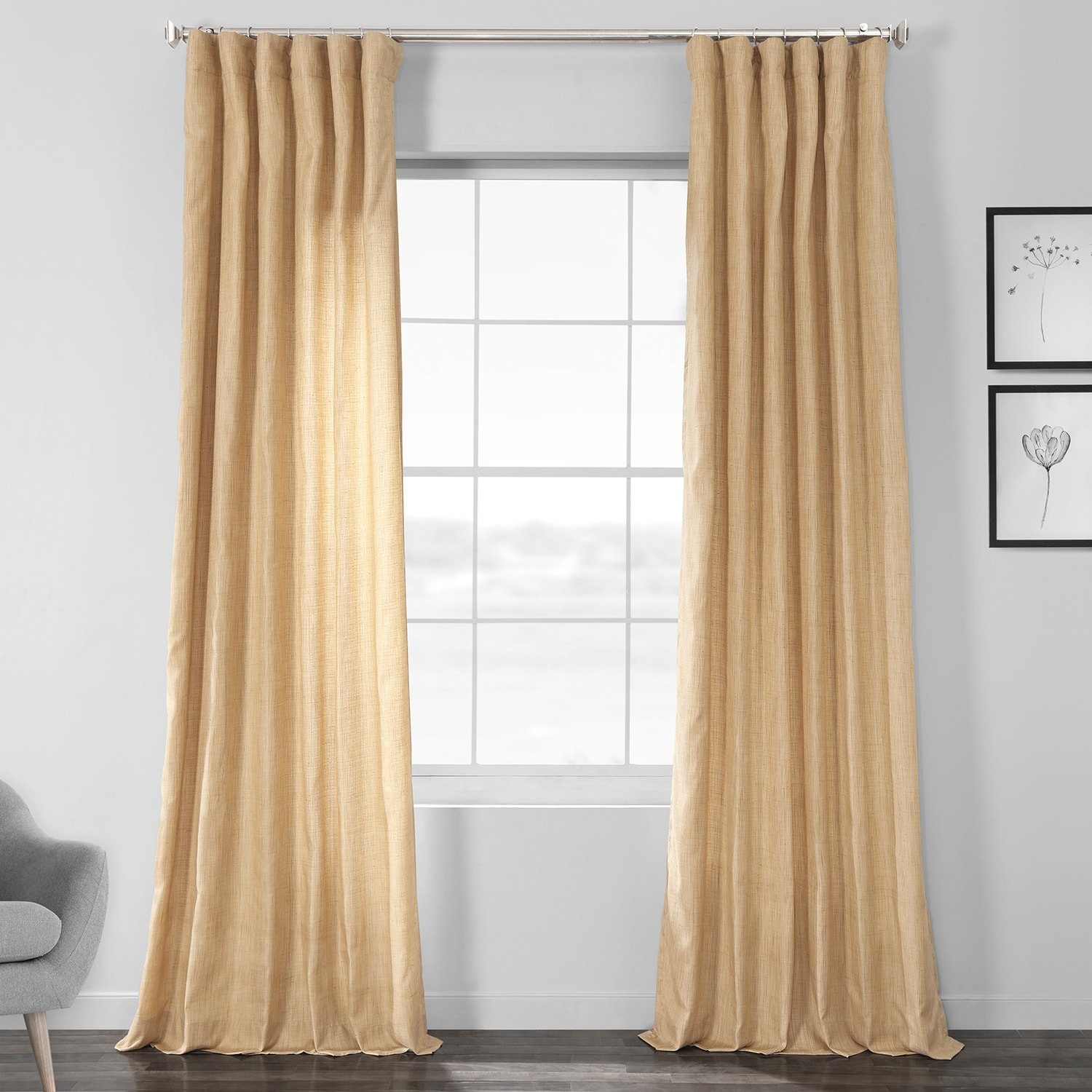 Tan Designer Shantung Faux Silk Curtain
