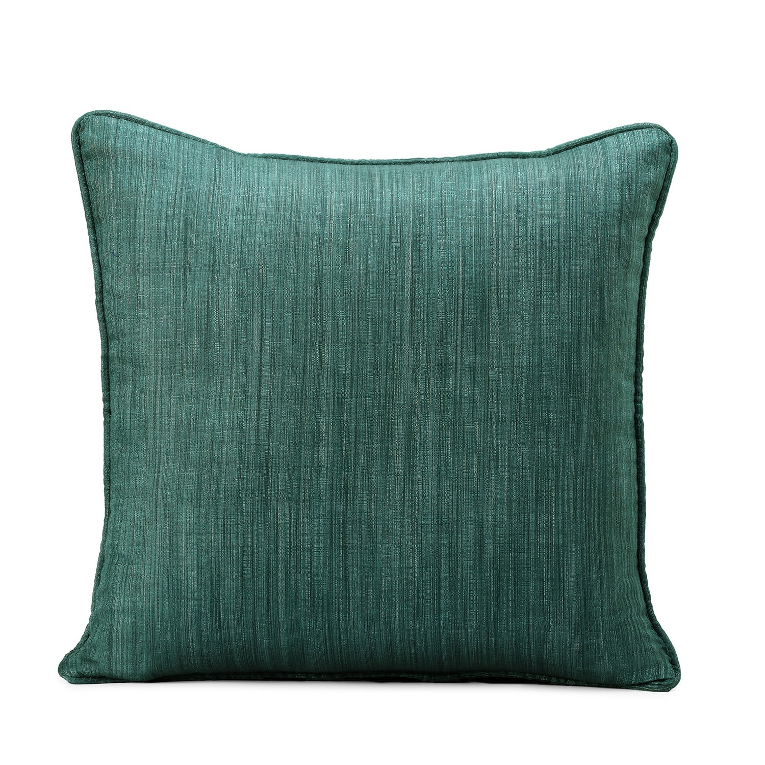 Basil Green Designer Shantung Faux Silk Cushion Cover - Pair