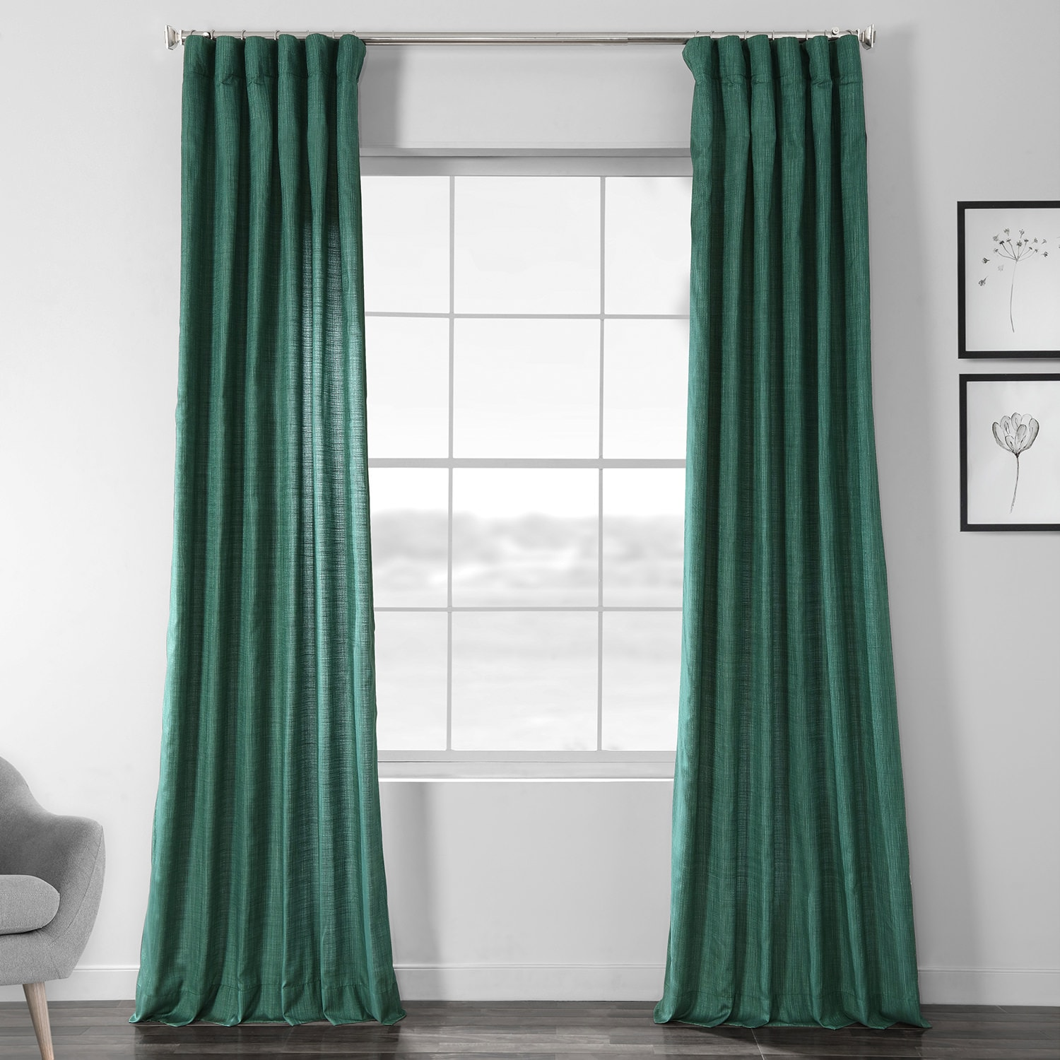 Basil Green Designer Chambray Textured Curtains