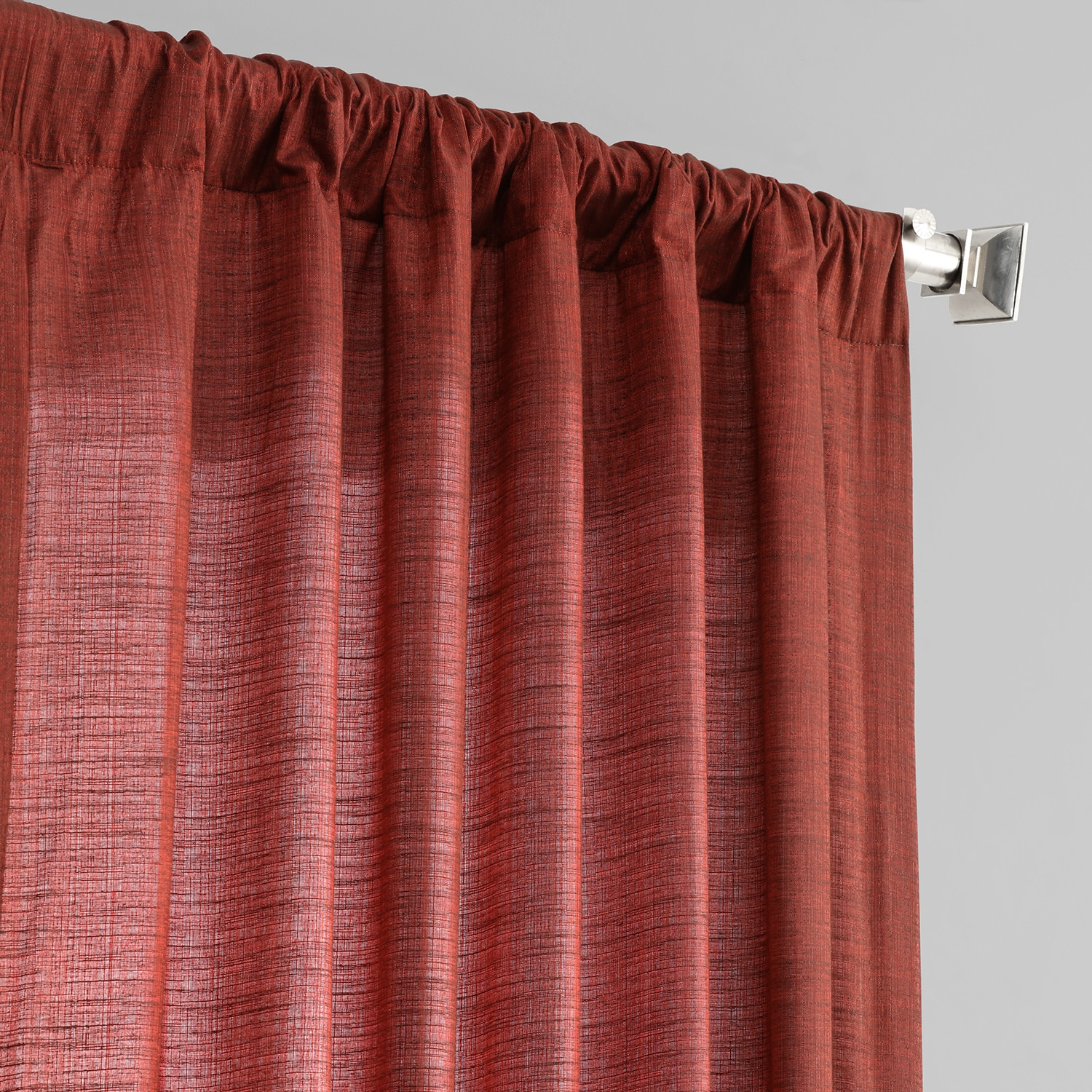 Admiral Red Designer Shantung Faux Silk Curtain