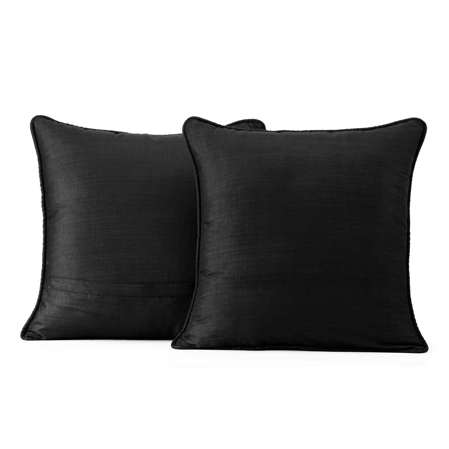 Papillon Black Designer Shantung Faux Silk Cushion Cover - Pair