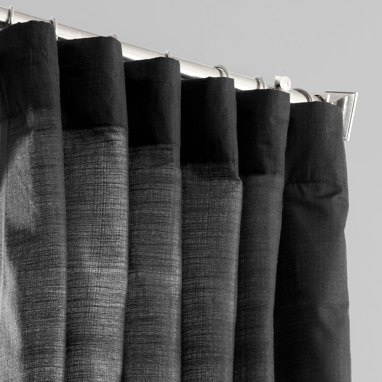 Papillon Black Designer Chambray Textured Curtains