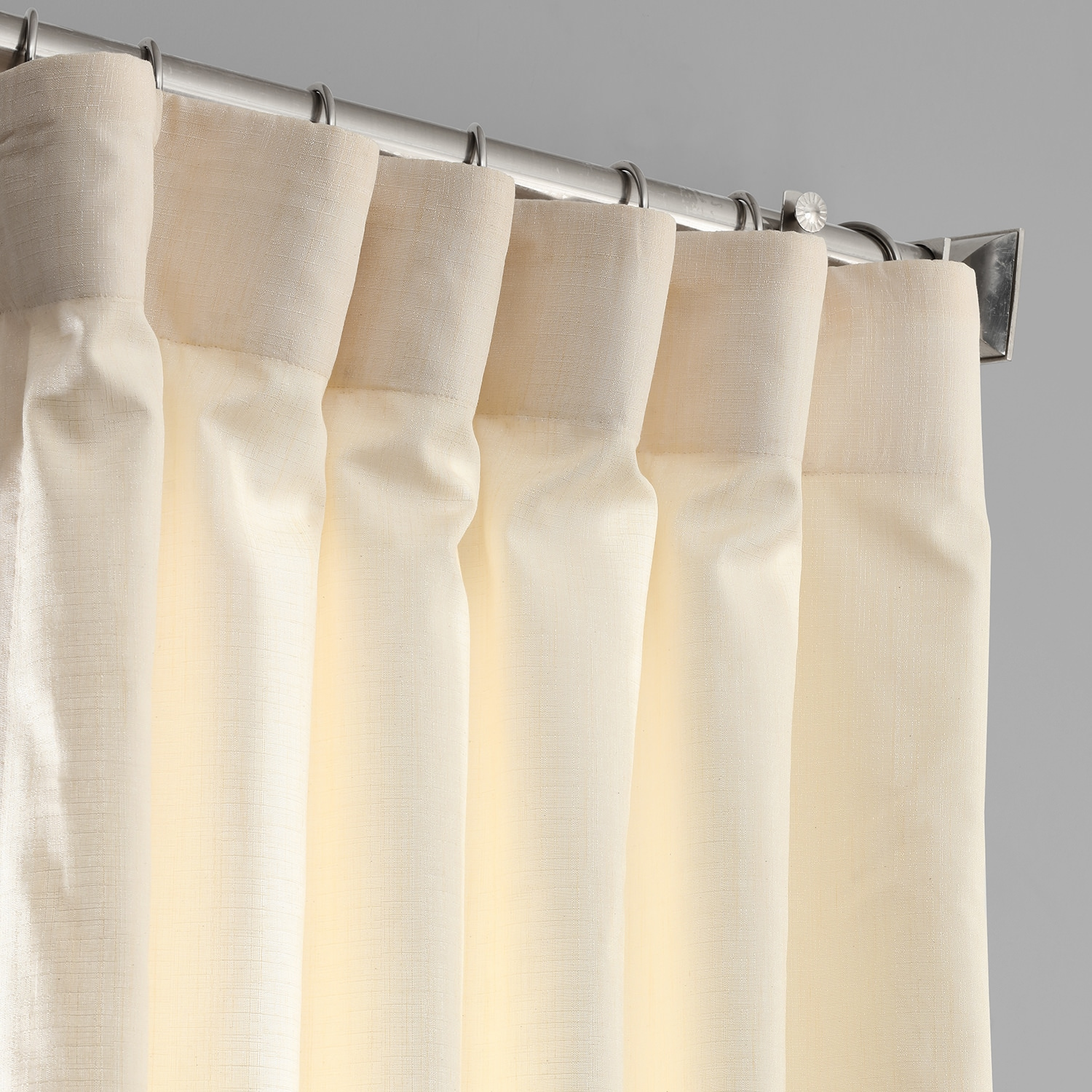 Ivory Designer Chambray Textured Curtains