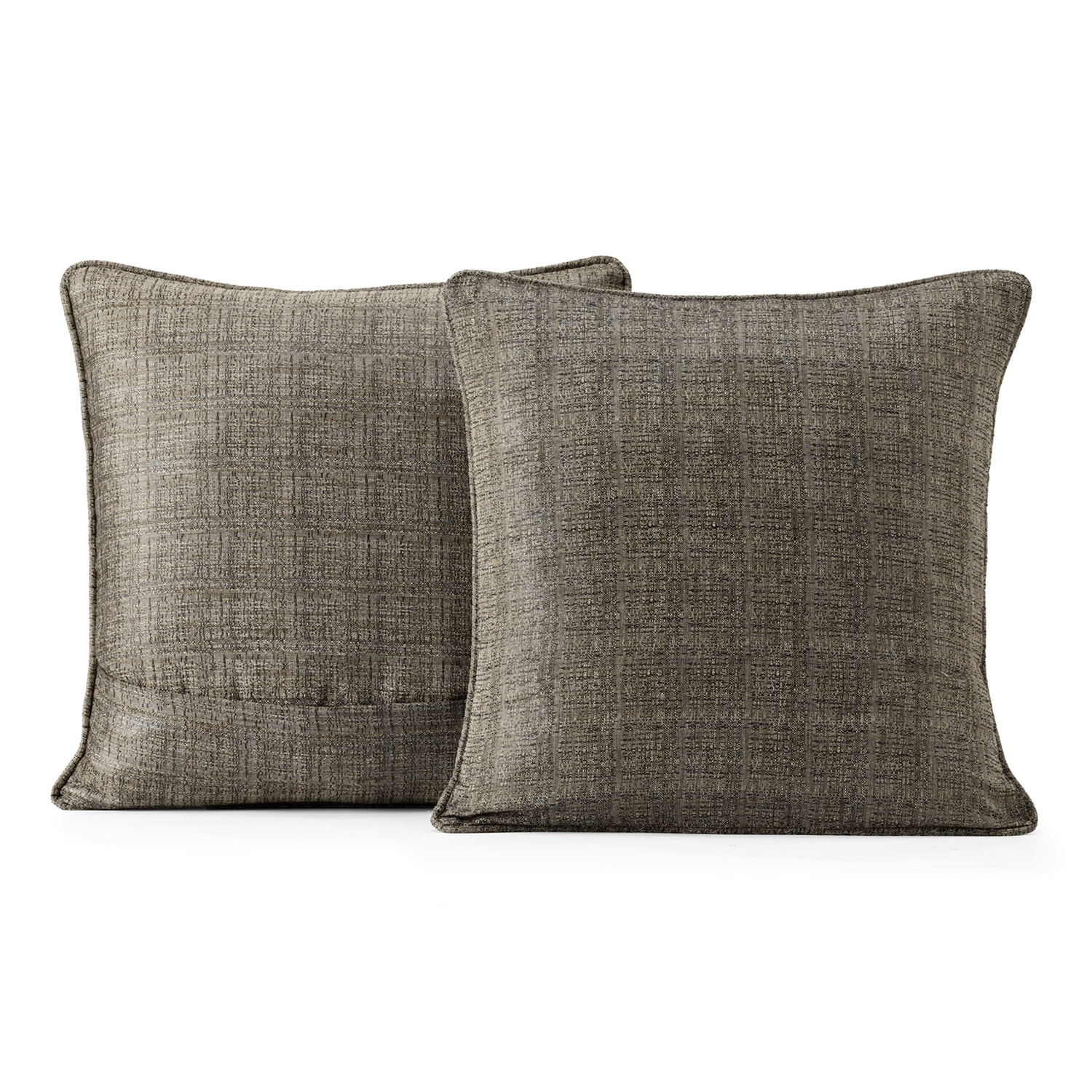 Nighthawk Grey Yarn Dyed Designer Faux Raw Textured Silk Cushion Cover - Pair