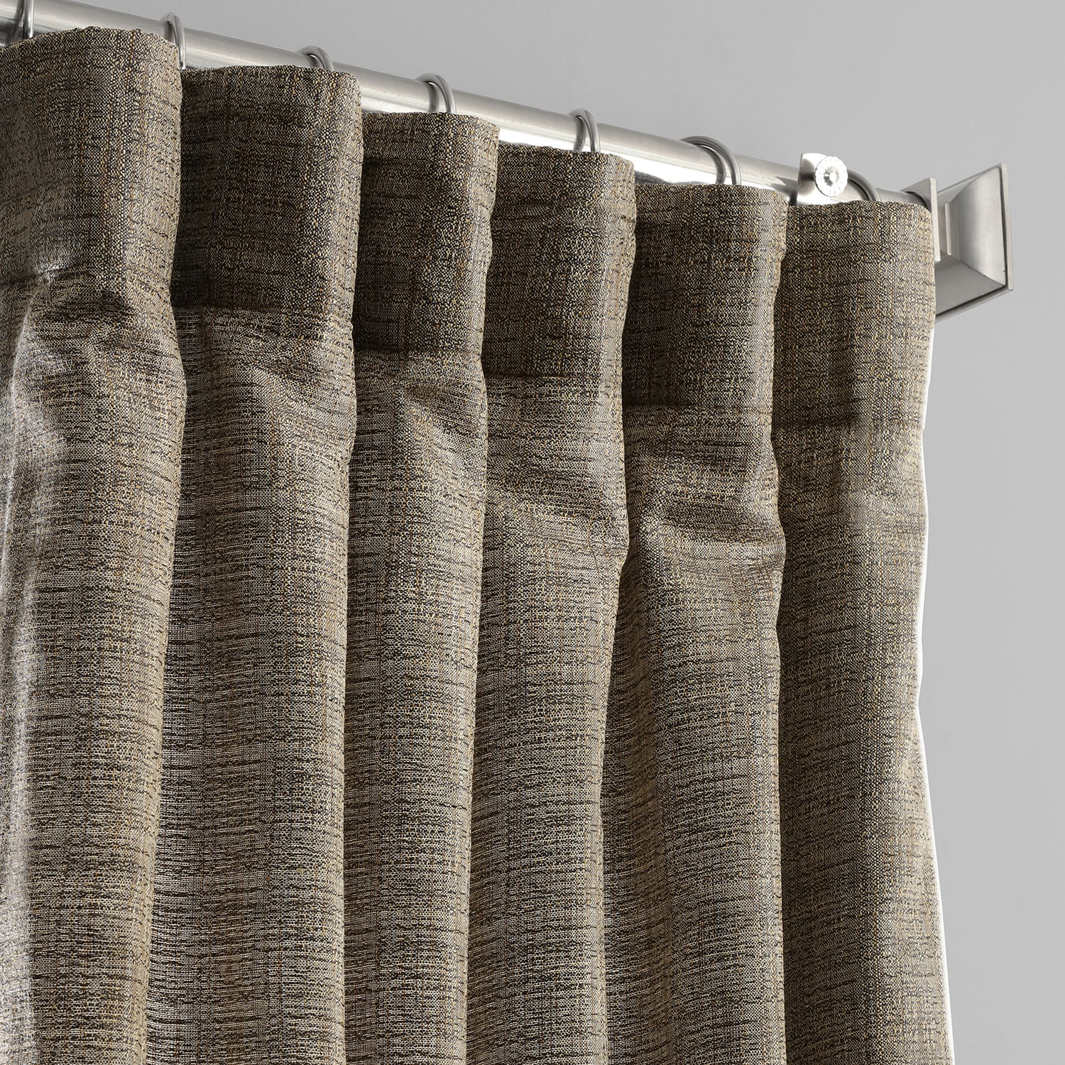 Nighthawk Grey Yarn Dyed Designer Faux Raw Textured Silk Curtain