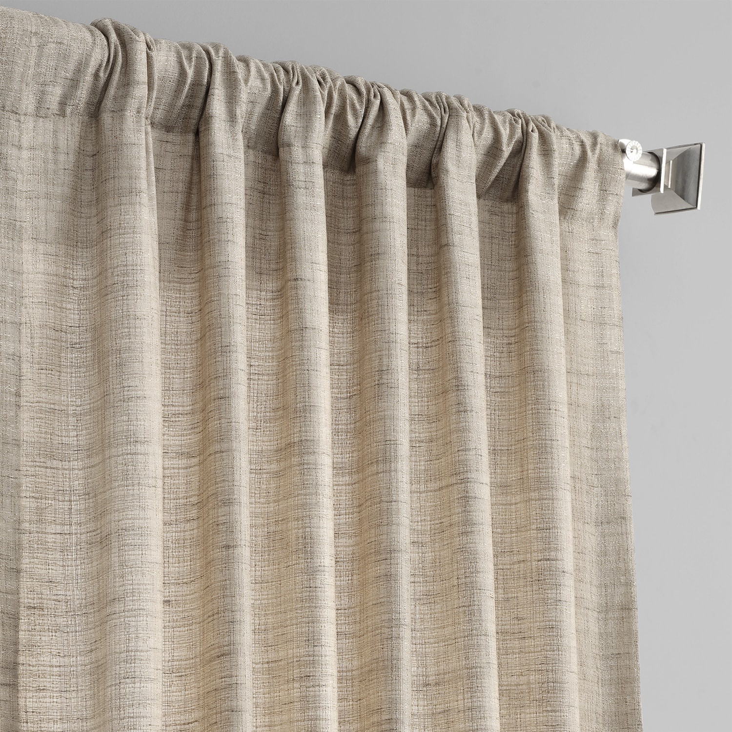 Linen Tan Yarn Dyed Designer Faux Raw Textured Silk Curtain