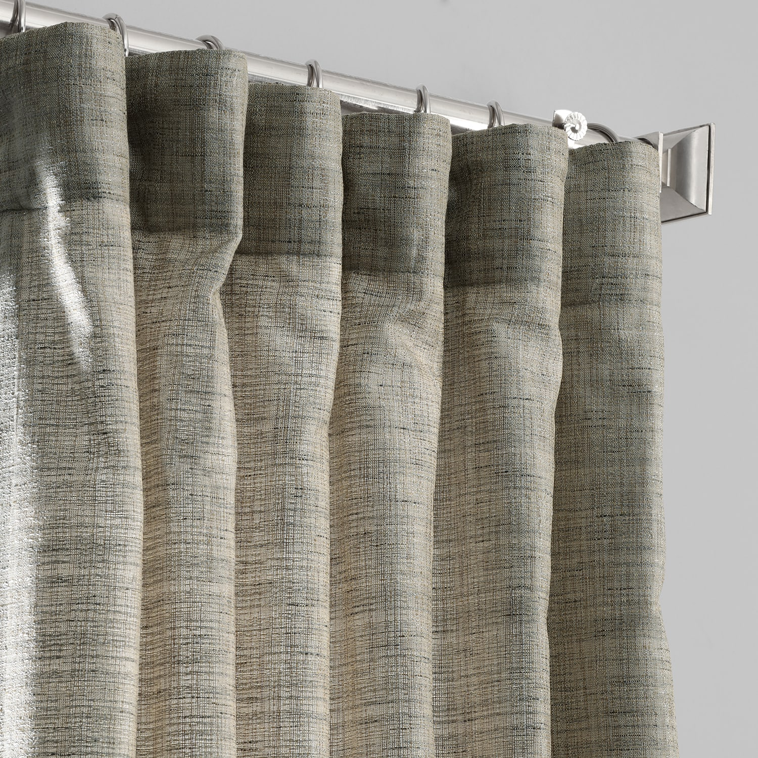 Sea Salt Grey Yarn Dyed Designer Faux Raw Textured Silk Curtains
