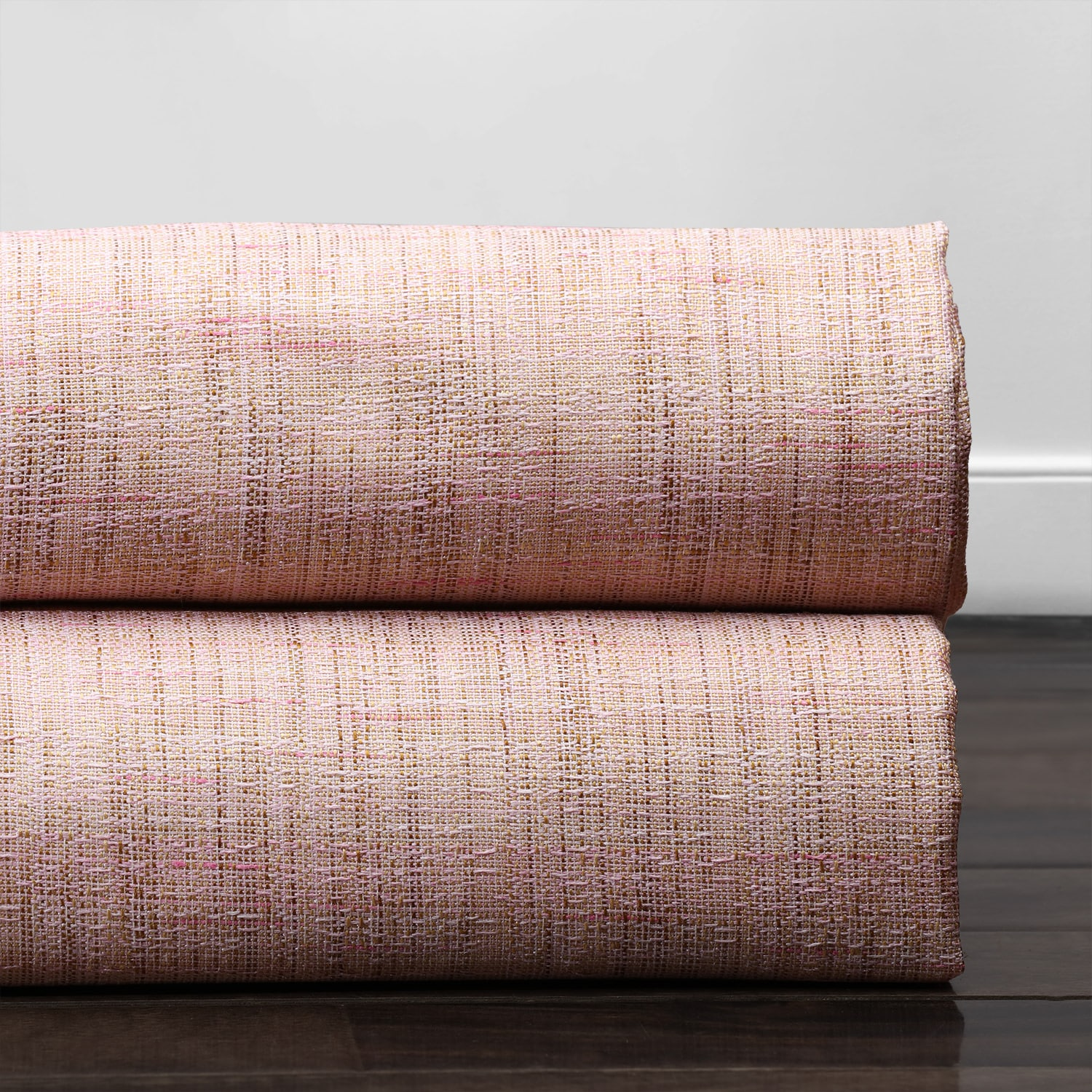 Rosey Pink Yarn Dyed Designer Faux Raw Textured Silk Fabric