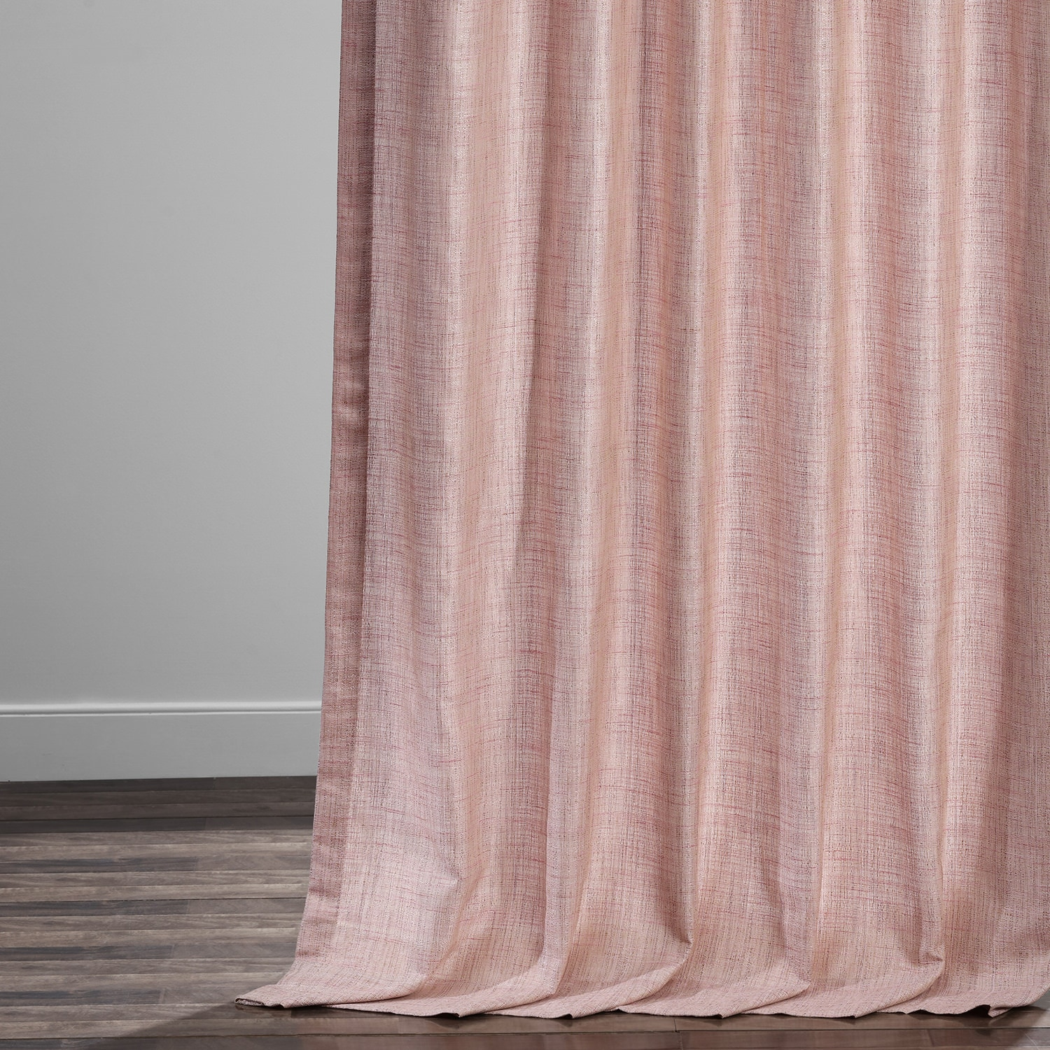 Rosey Pink Yarn Dyed Designer Faux Raw Textured Silk Curtain