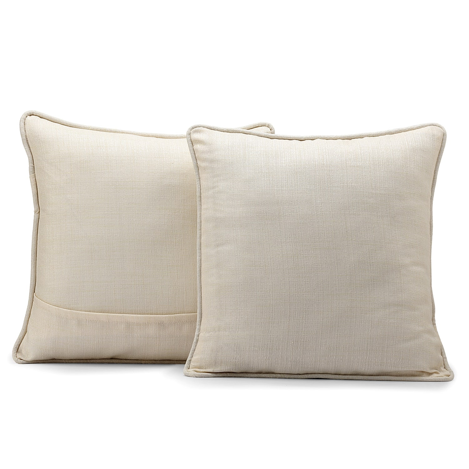 French Ivory Yarn Dyed Designer Faux Raw Textured Silk Cushion Cover - Pair