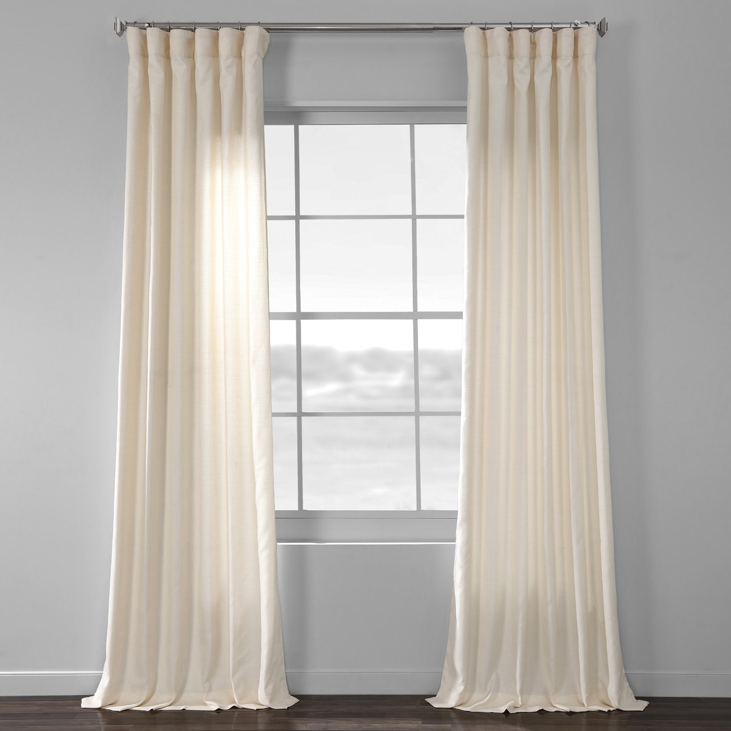French Ivory Yarn Dyed Designer Faux Raw Textured Silk Curtains
