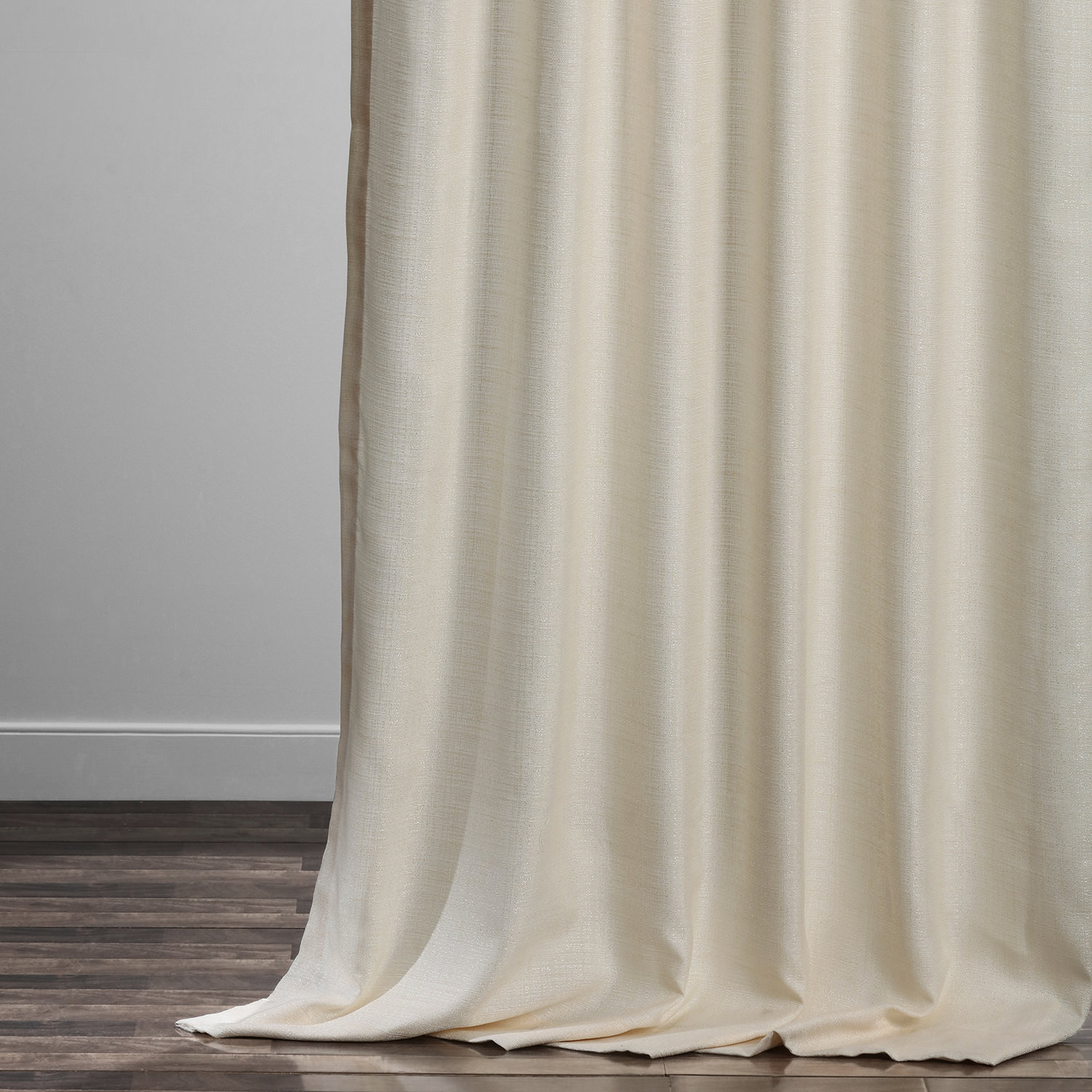 French Ivory Yarn Dyed Designer Faux Raw Textured Silk Curtain