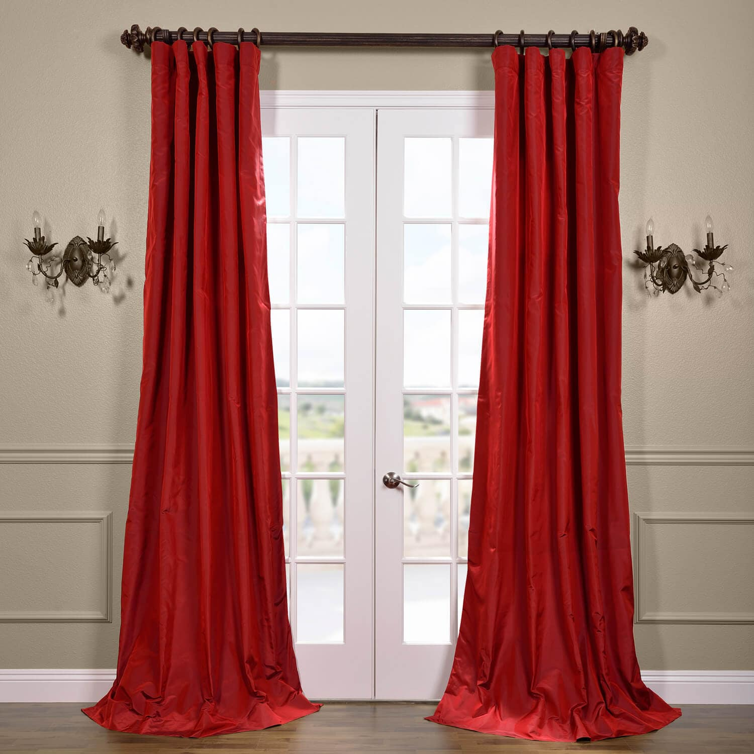 Half price drapes scarlet silk taffeta curtain sstf 7 for Online curtains and drapes