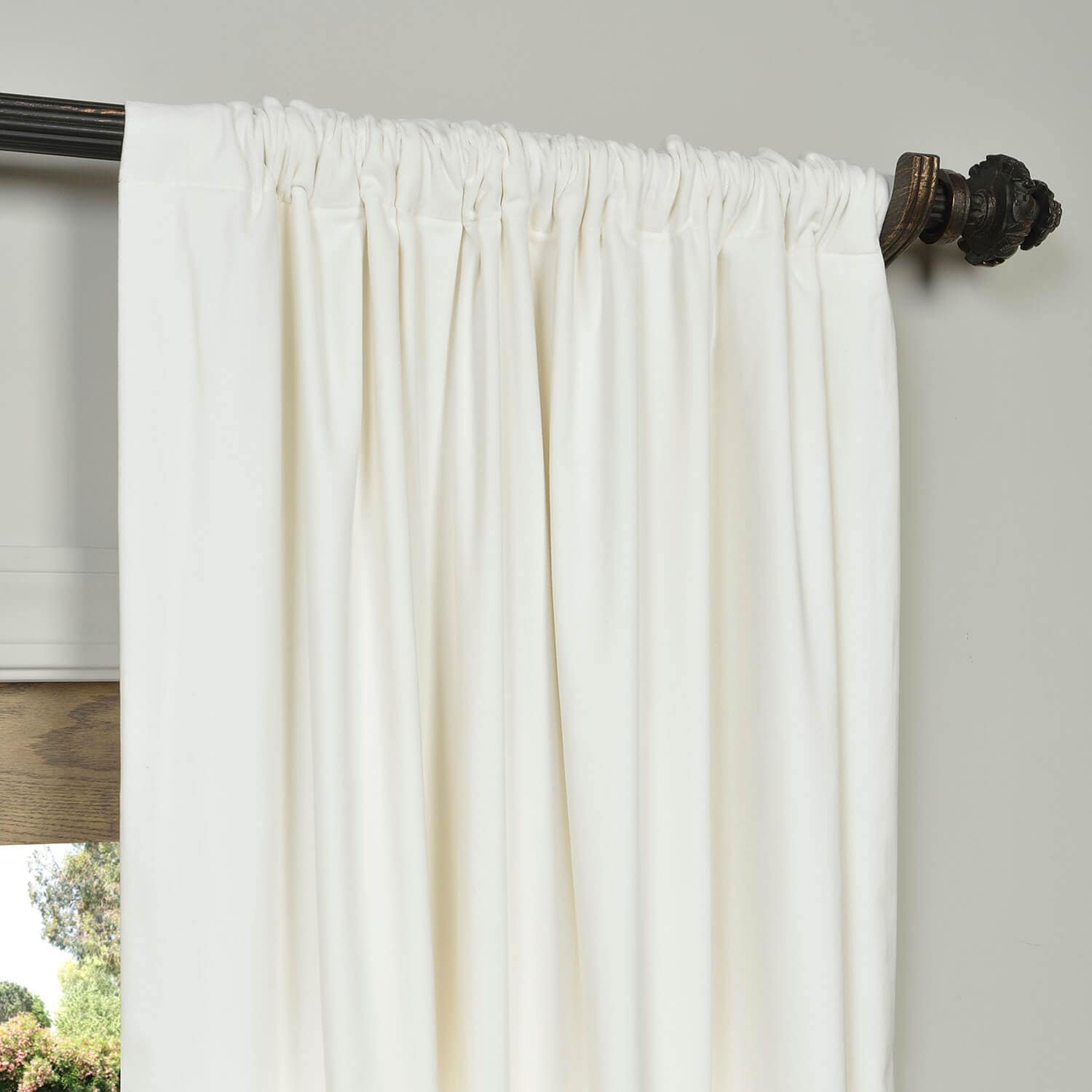 Get White Vintage Cotton Velvet Curtain Velvet Drapes