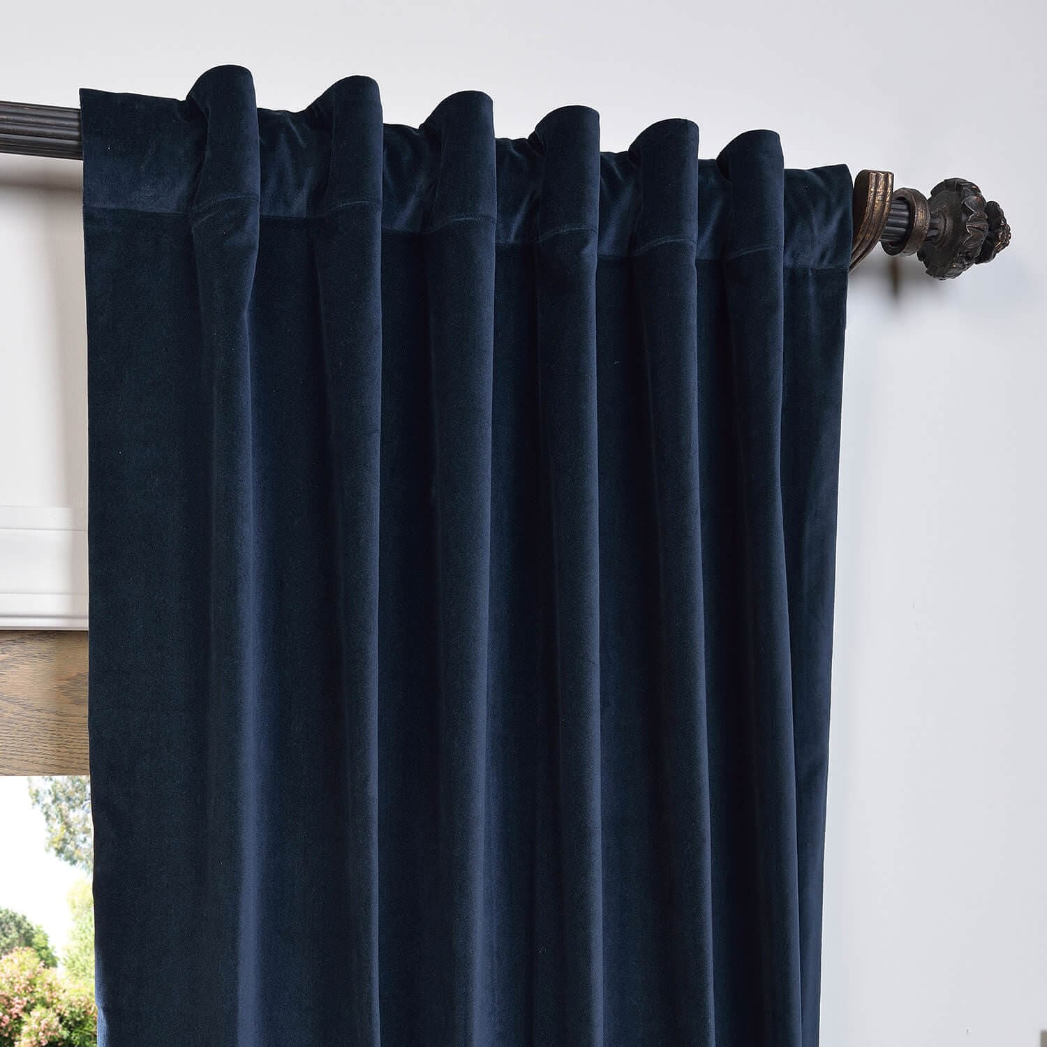 Navy Vintage Cotton Velvet Curtain