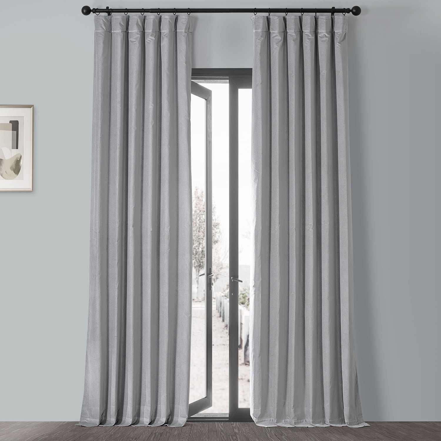 Contempo Grey Vintage Cotton Velvet Curtain