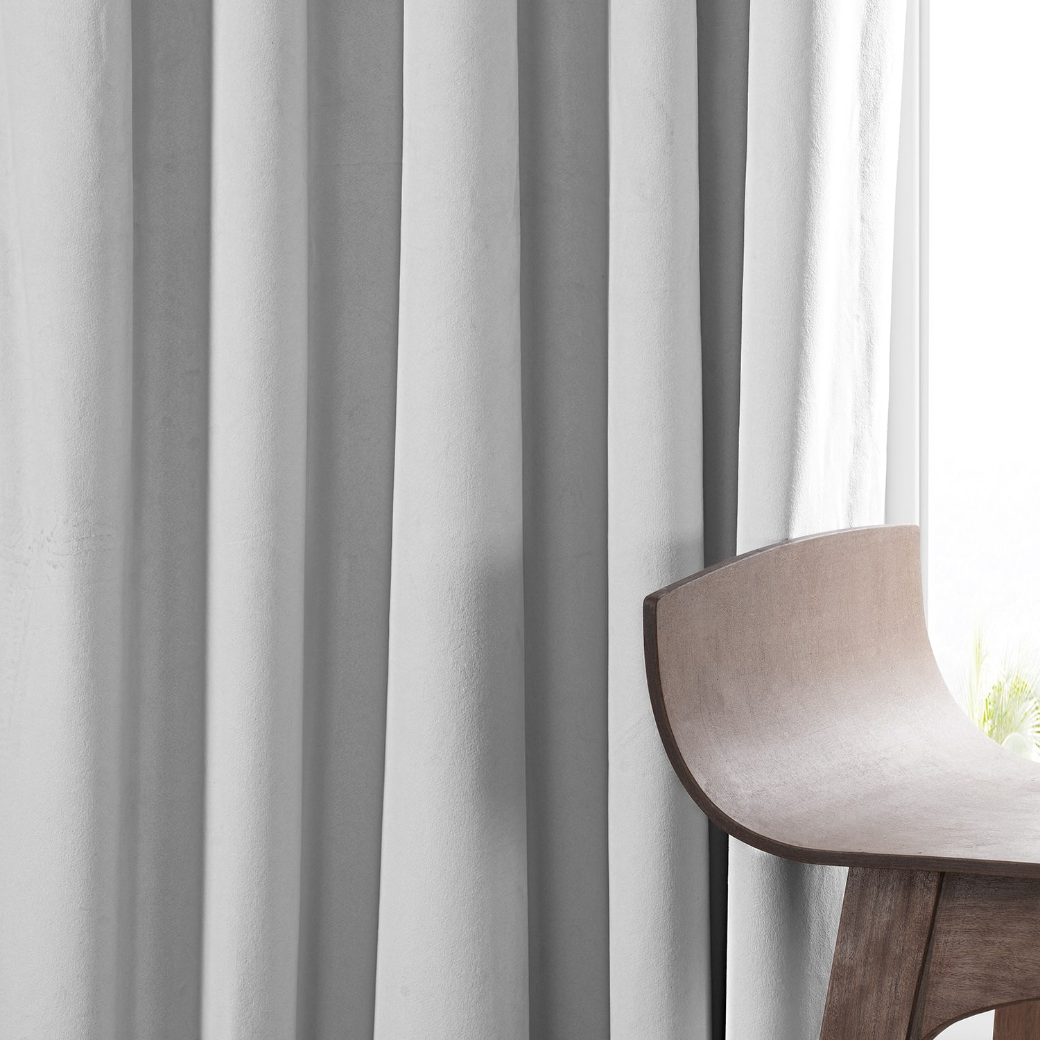 Signature Porcelain White Pleated Blackout Velvet Curtain