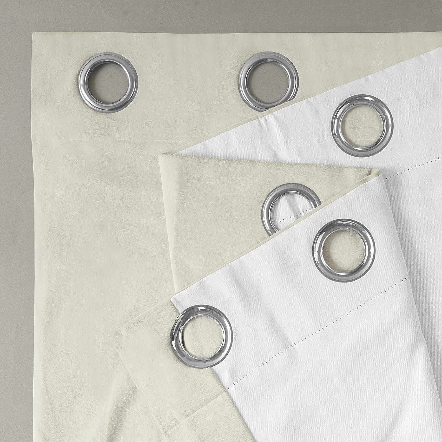 Signature Porcelain White Grommet Blackout Velvet Curtain