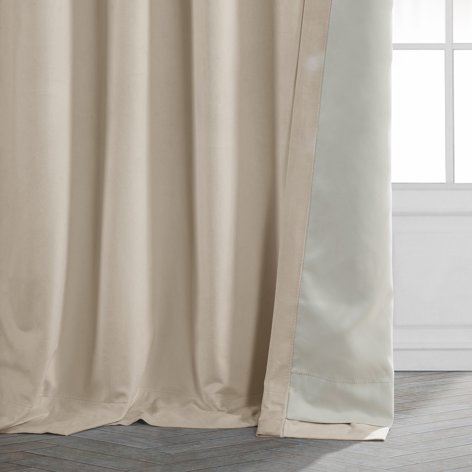 Signature Alabaster Beige Pleated Blackout Velvet Curtain