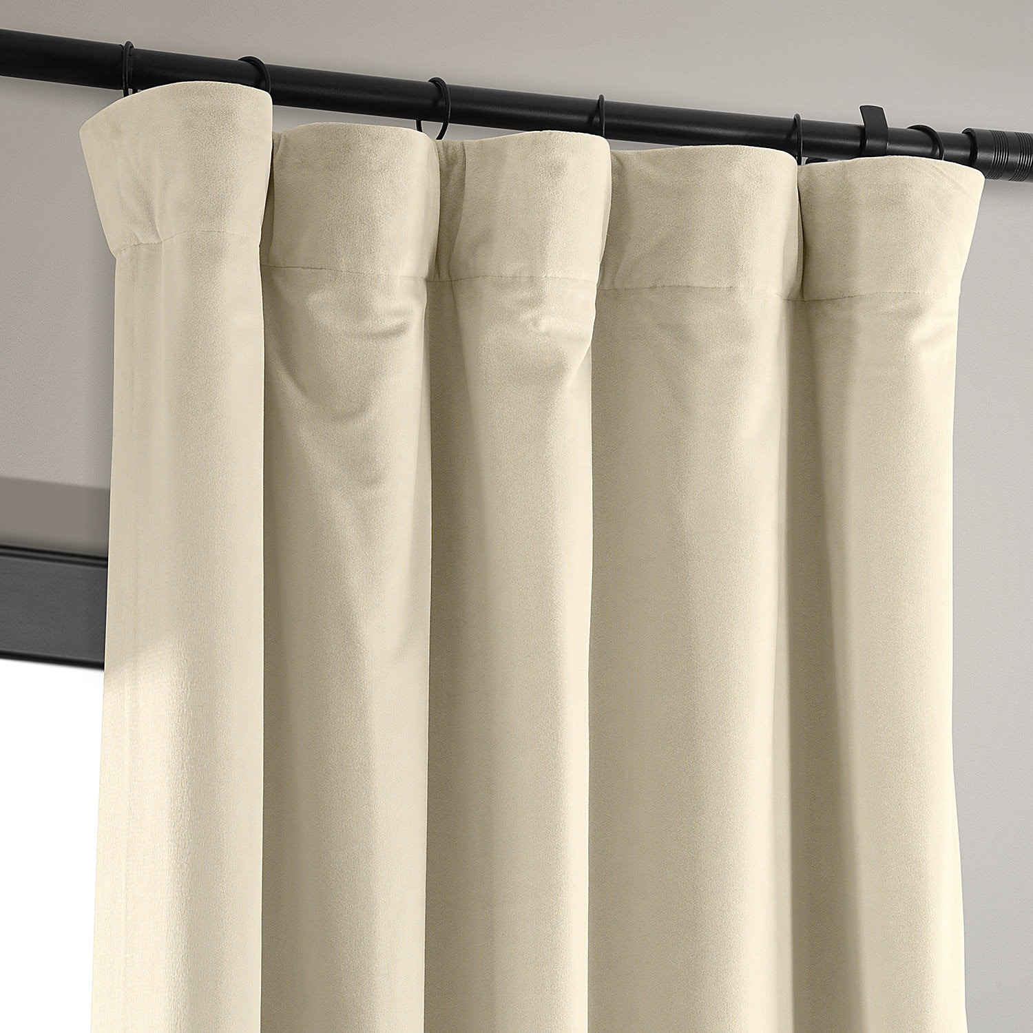Signature Alabaster Beige Blackout Velvet Curtain