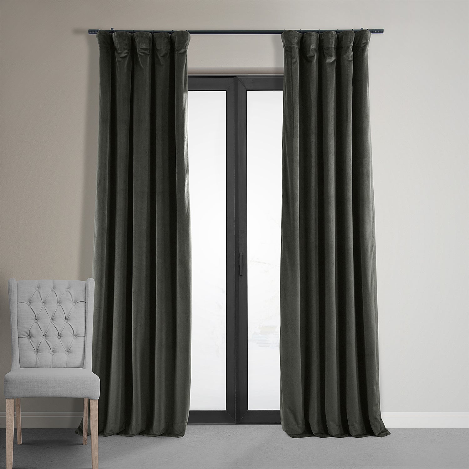 Beautiful Signature Gunmetal Grey Blackout Velvet Curtains TO62
