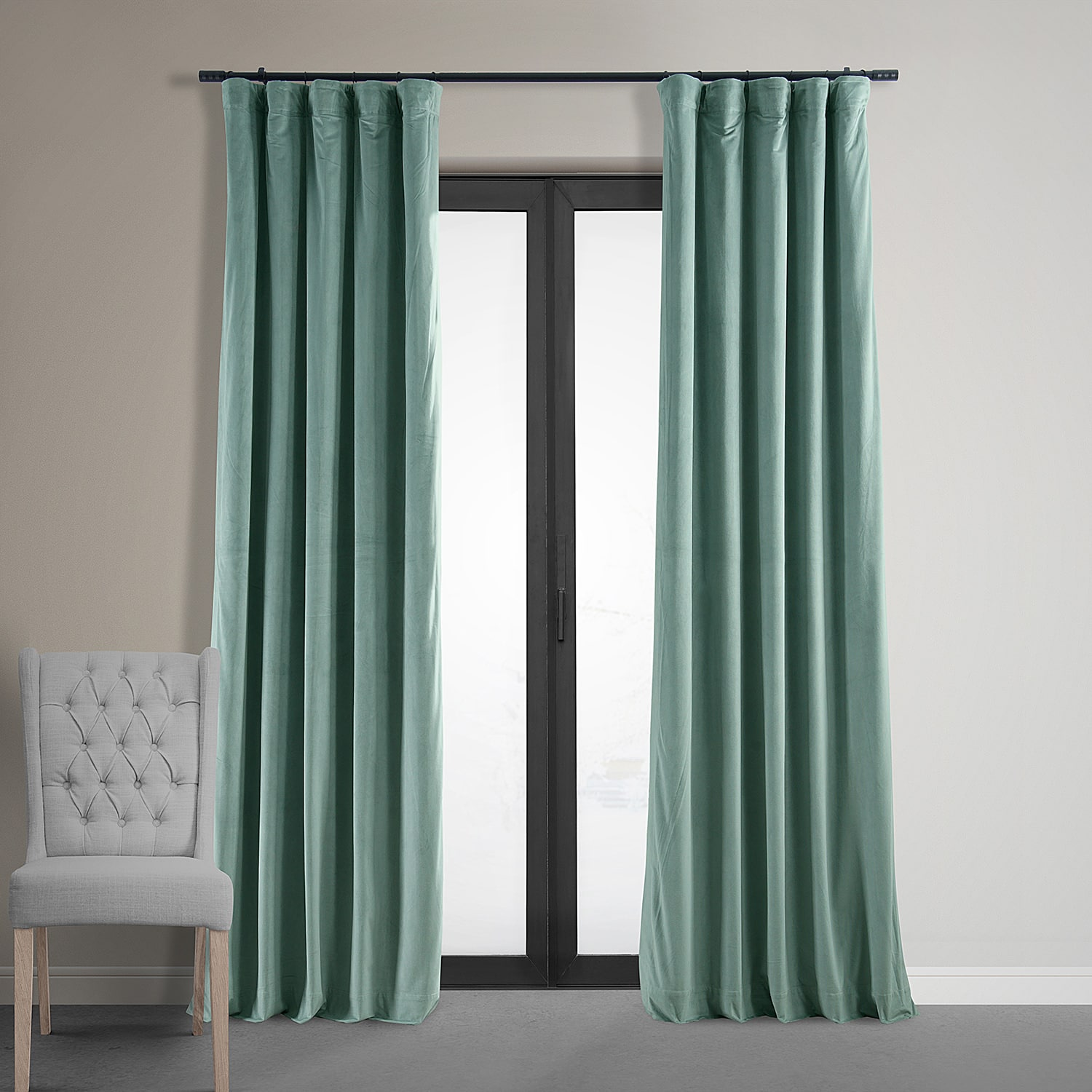 Signature Aqua Mist Blackout Velvet Curtains, Drapes
