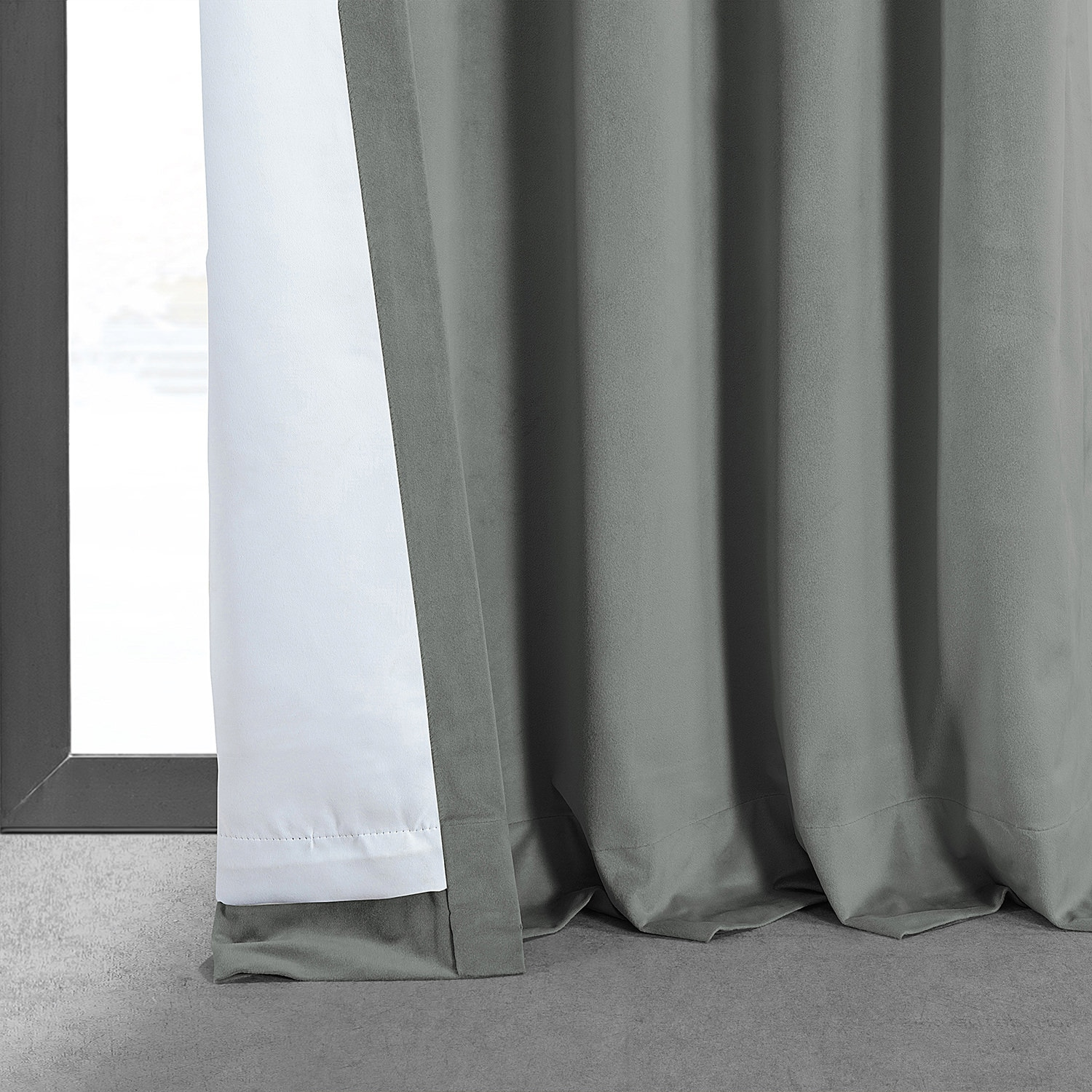 aec66325b Signature Silver Grey Blackout Velvet Curtain