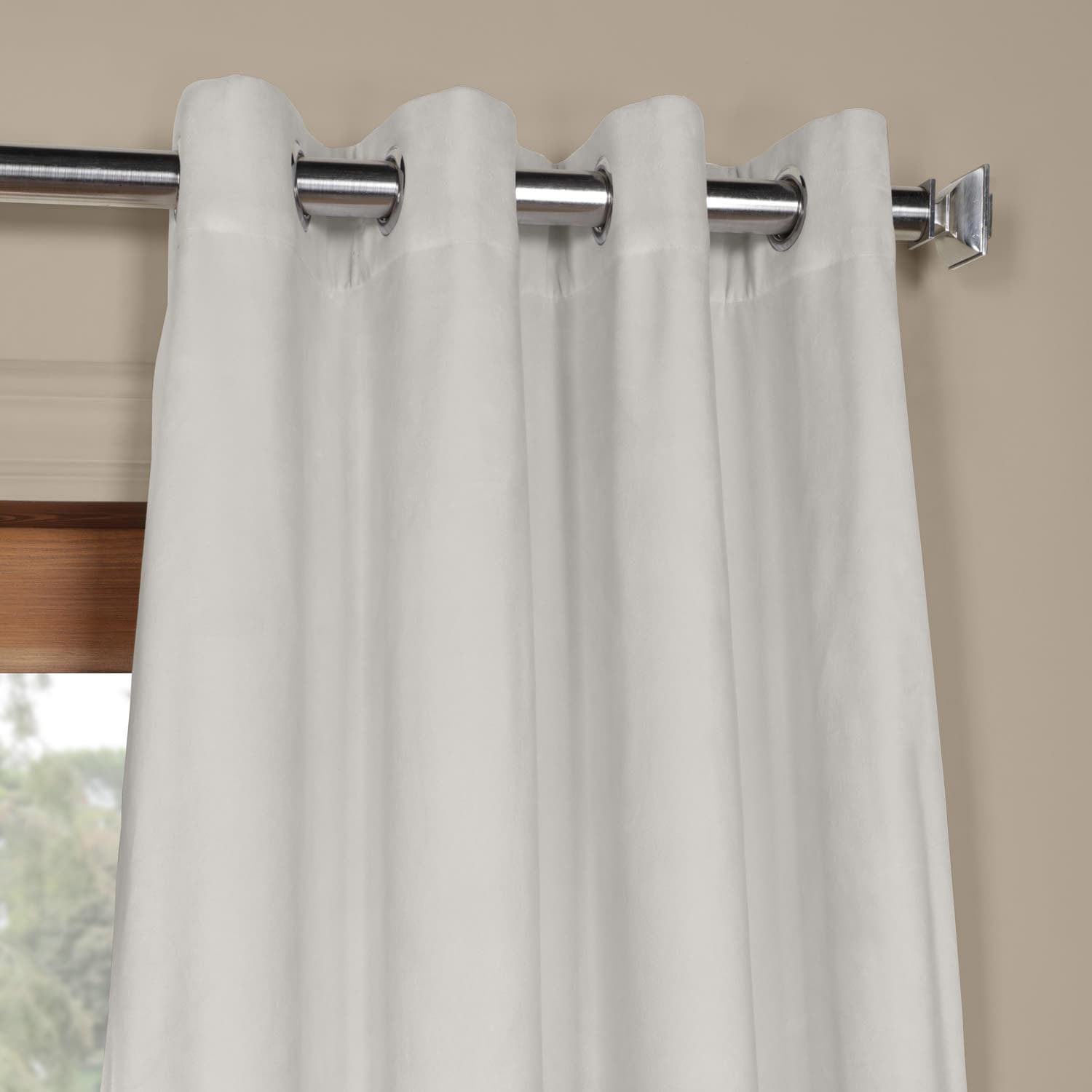 Signature Reflection Grey Grommet Blackout Velvet Curtain