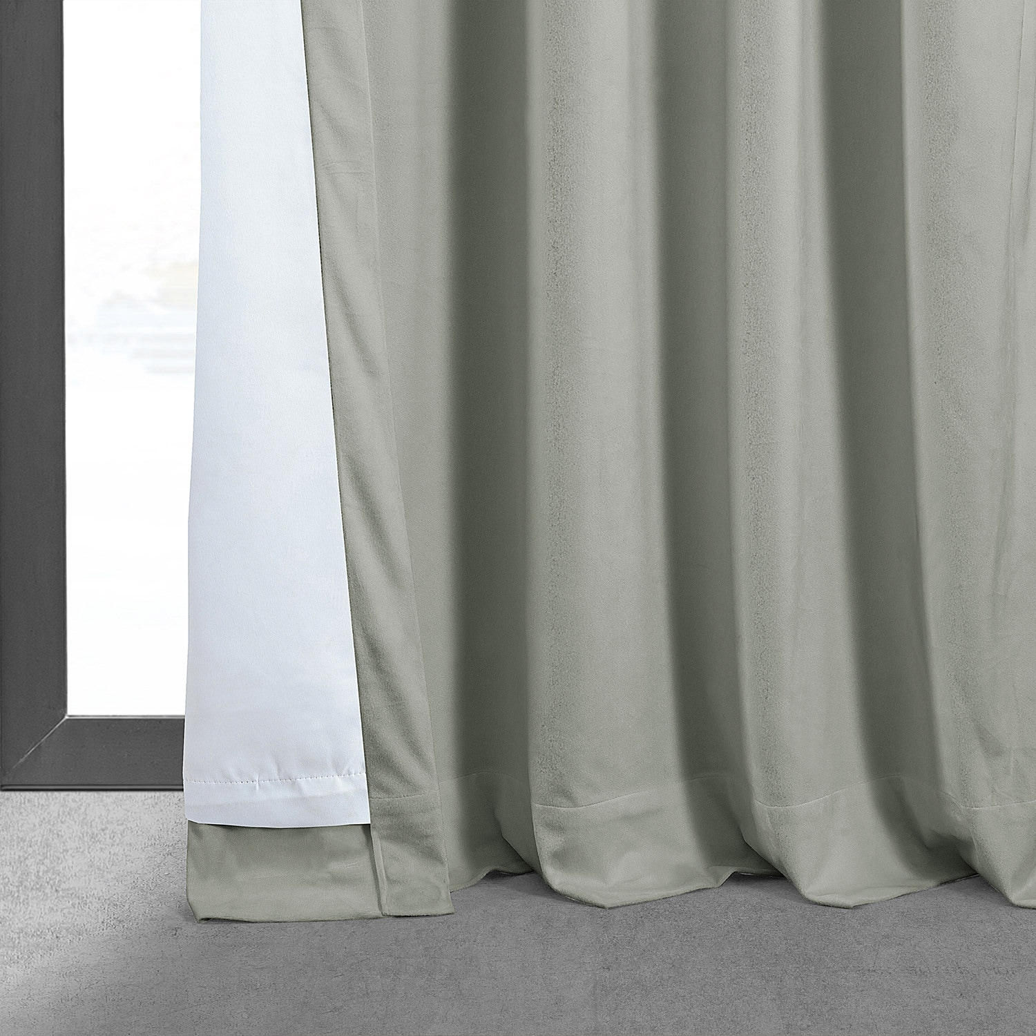 Signature Reflection Grey Blackout Velvet Curtain