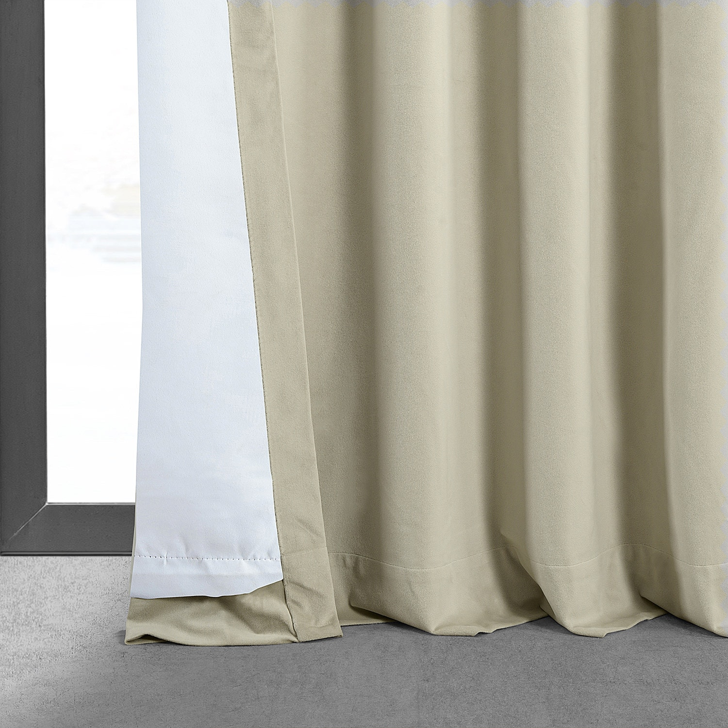Signature Cool Beige Blackout Velvet Curtain And Drapes