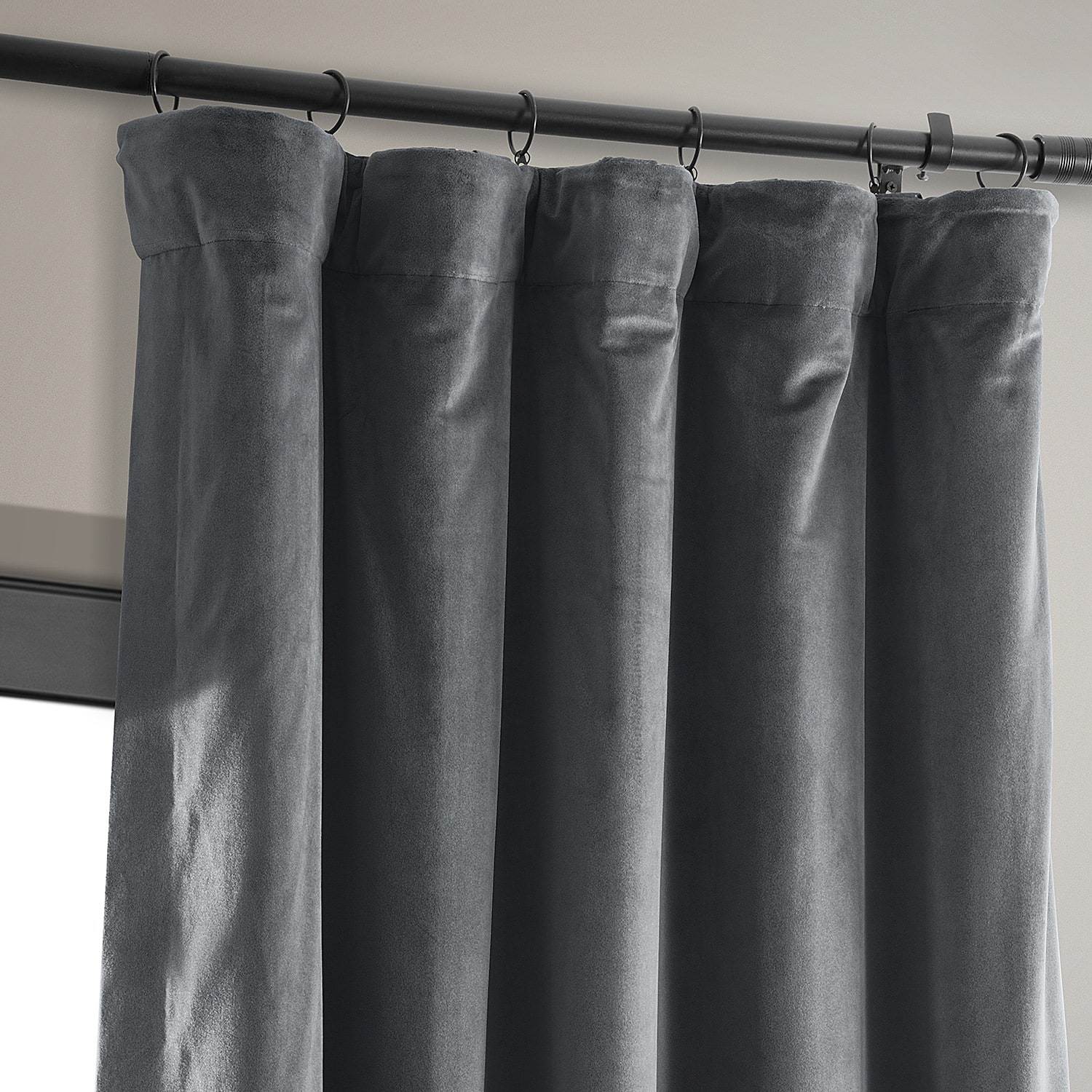 Signature Distance Blue Grey Blackout Velvet Curtain