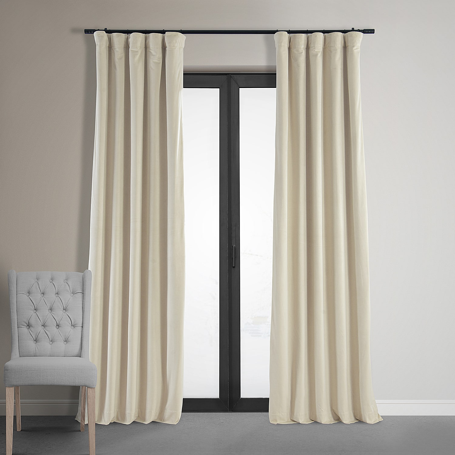 Signature Neutral Ground Blackout Velvet Curtain
