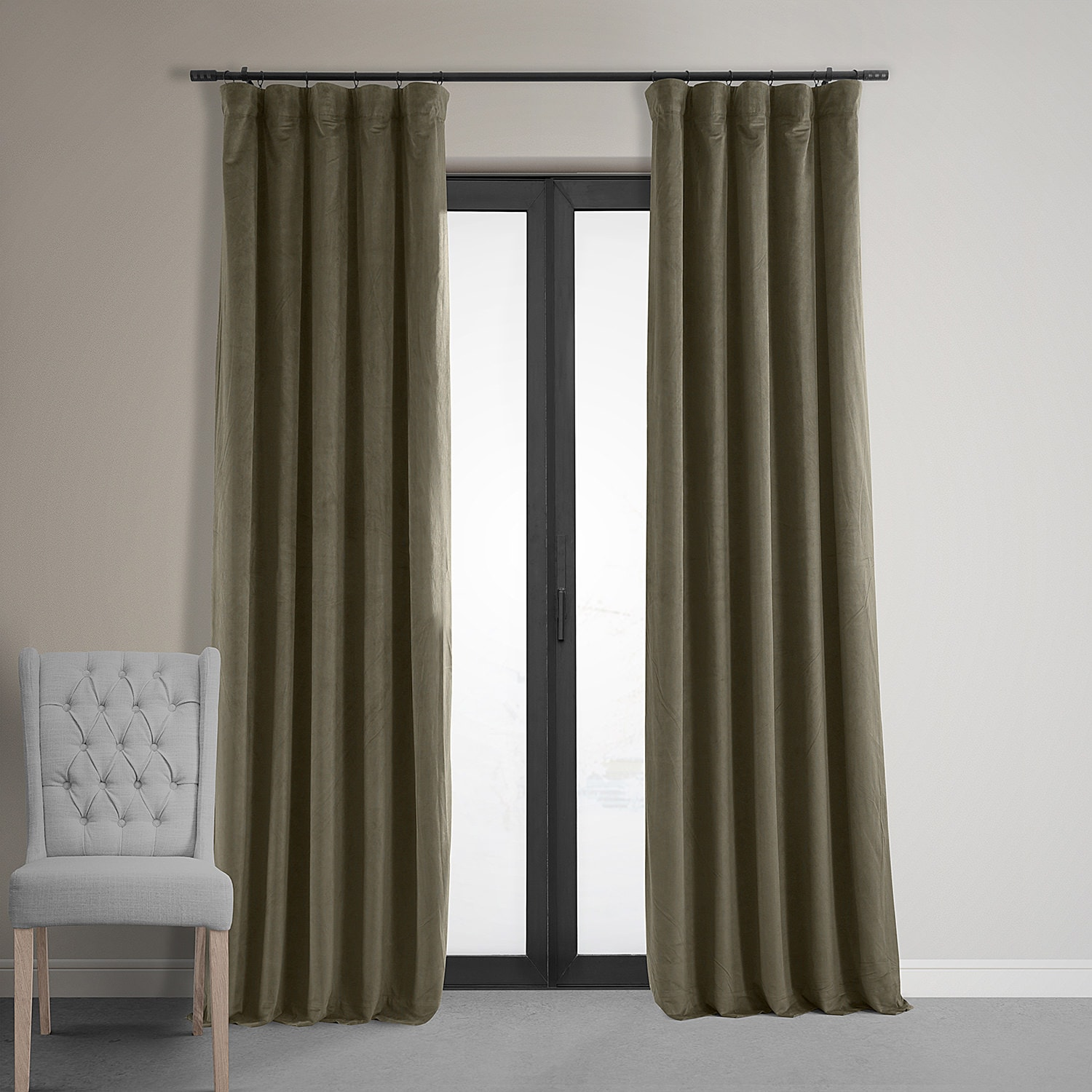Signature Denver Taupe Blackout Velvet Curtain