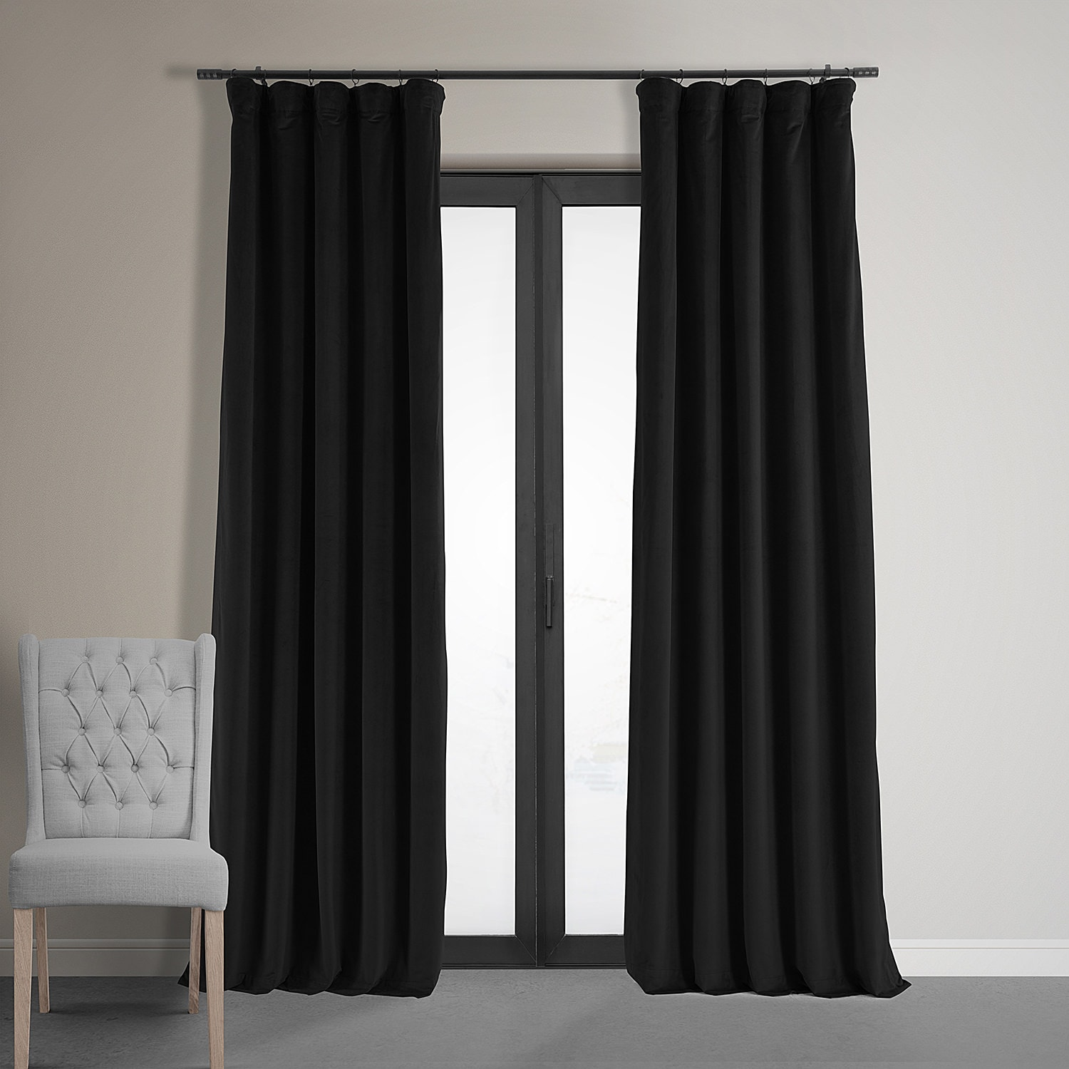 depositphotos curtain hang the black with over exit door stock velvet straight night curtains photo into