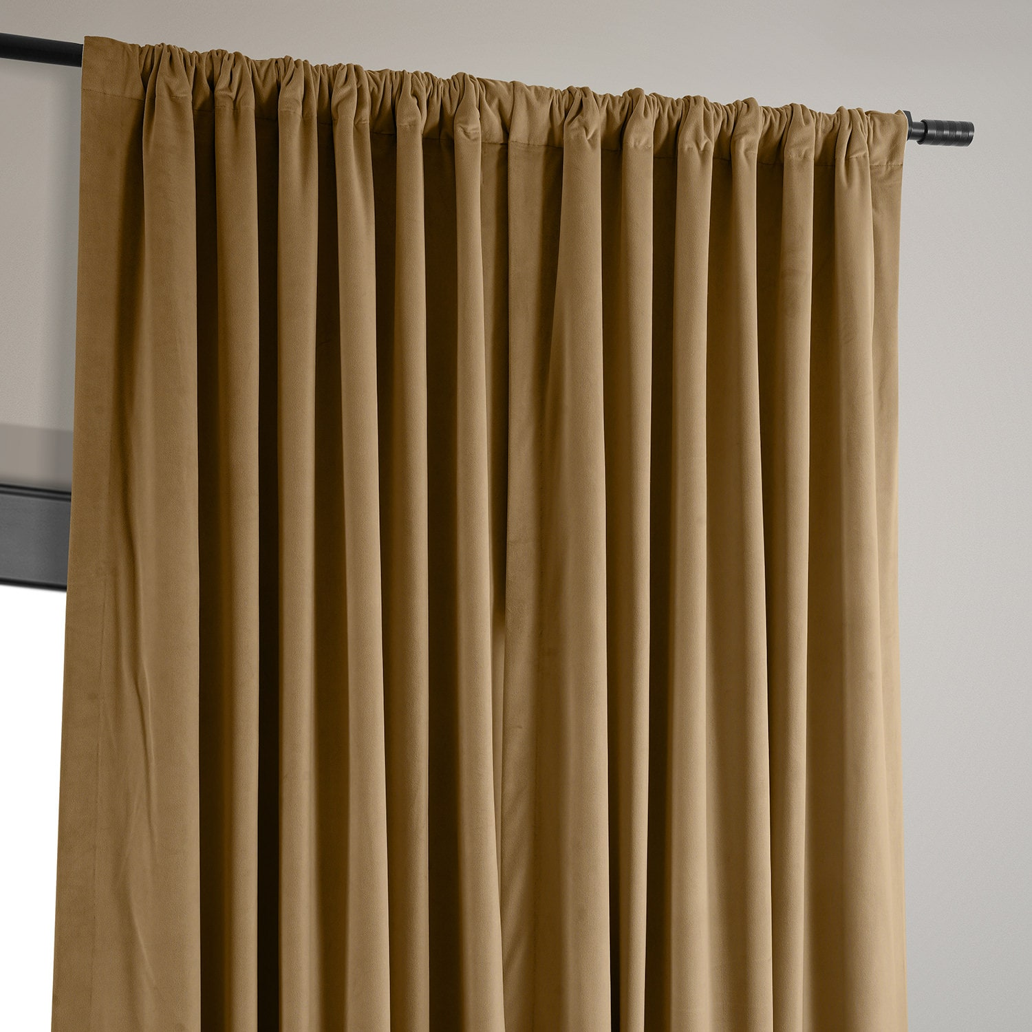 Signature Amber Gold Extra Wide Velvet Blackout Pole Pocket Curtain