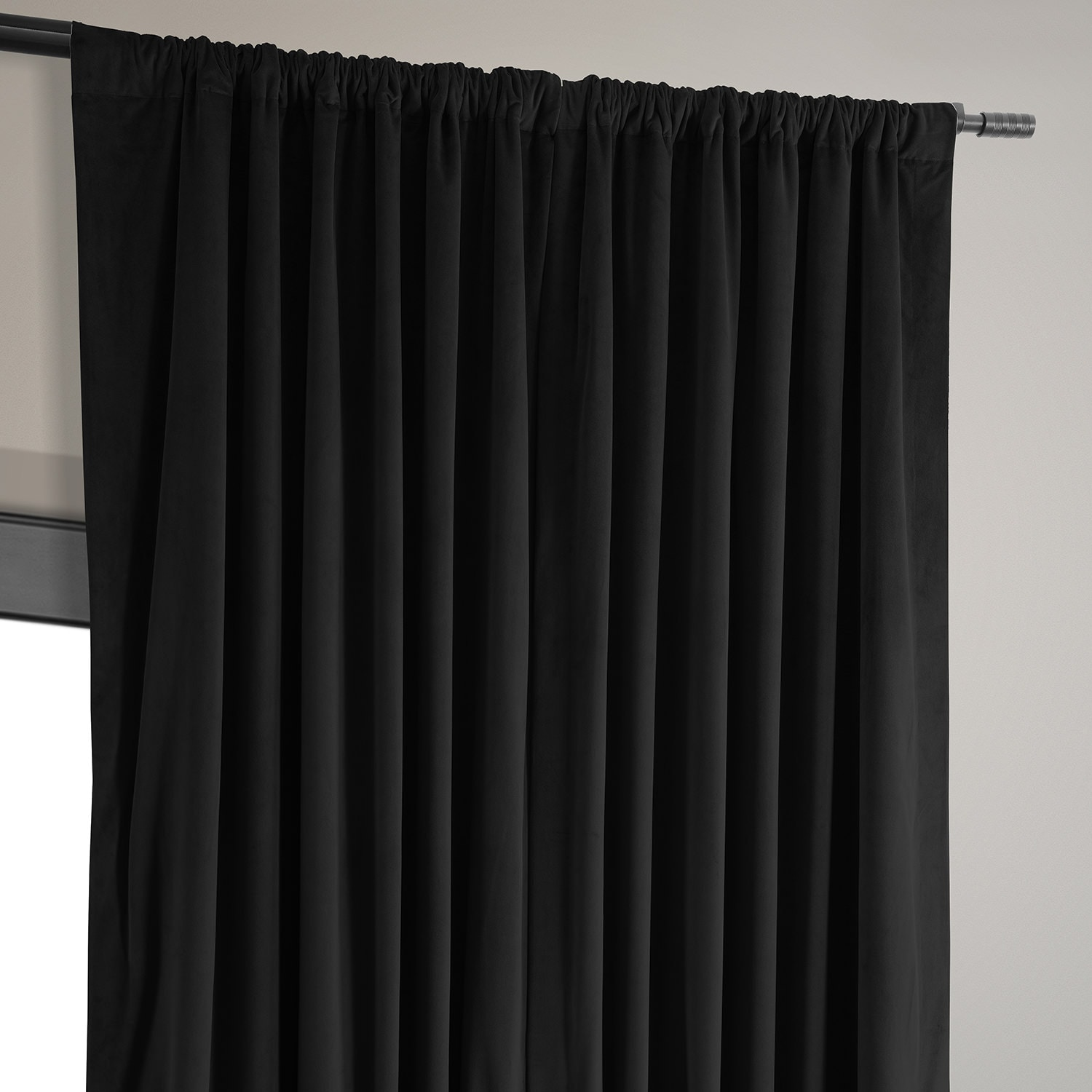 Signature Black Extra Wide Velvet Blackout Pole Pocket Curtain