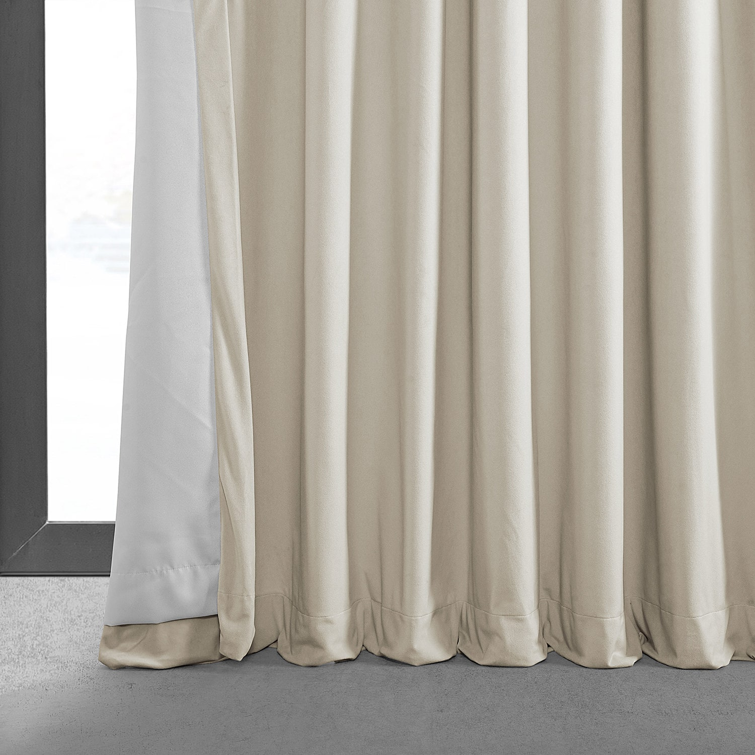 Signature Warm Off White Extra Wide Grommet Blackout Velvet Curtain