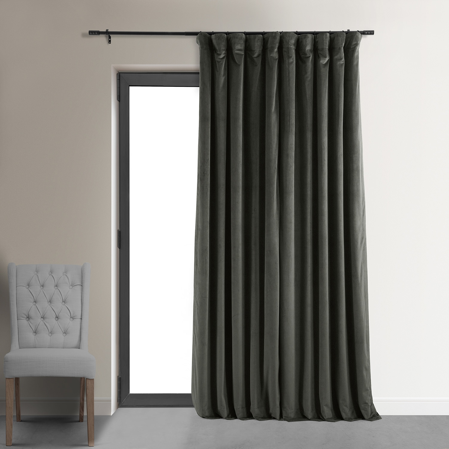 Signature Gunmetal Grey Extra Wide Blackout Velvet Curtain