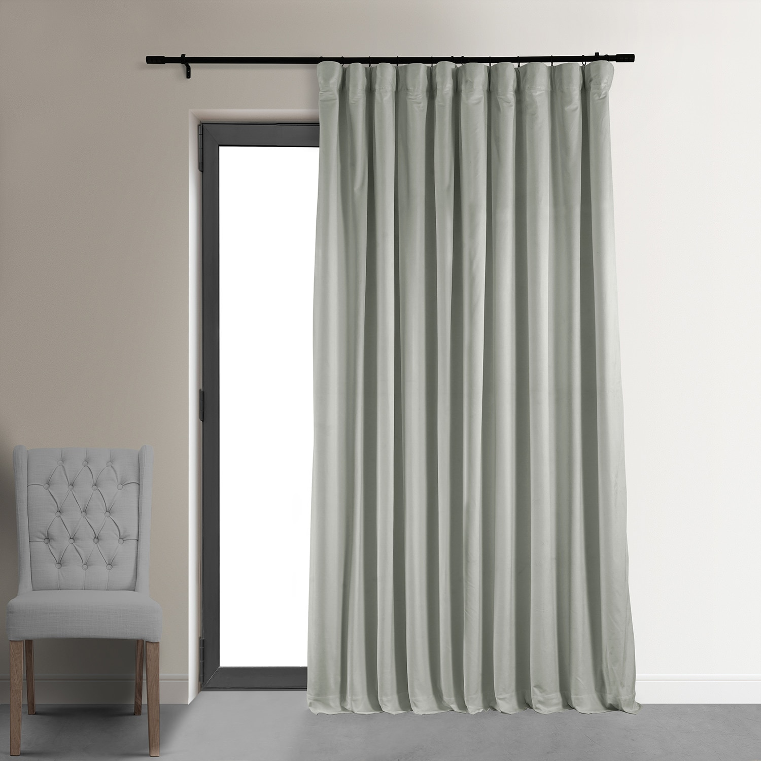 Signature Reflection Grey Extra Wide Blackout Velvet Curtain