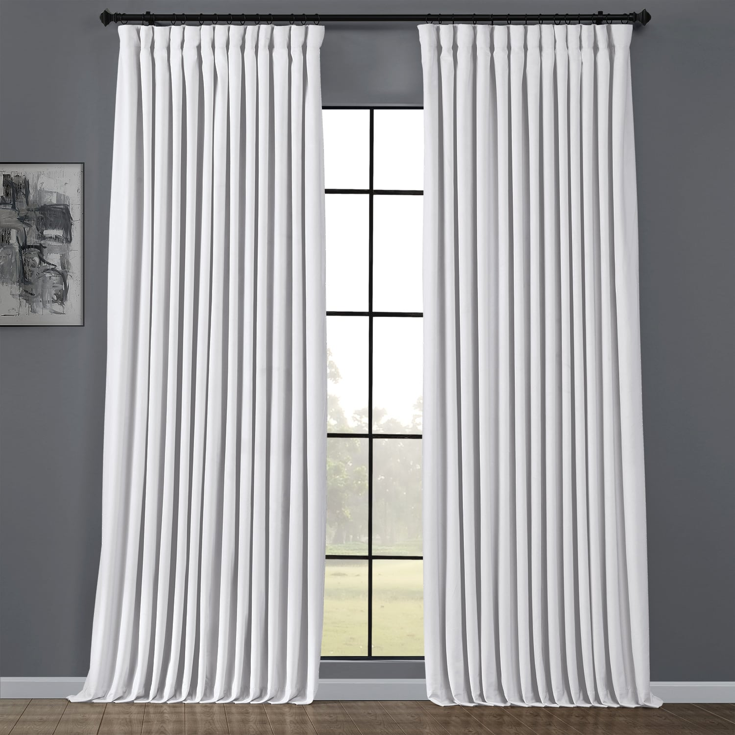 Pillow White Heritage Plush Velvet Extrawide Curtain