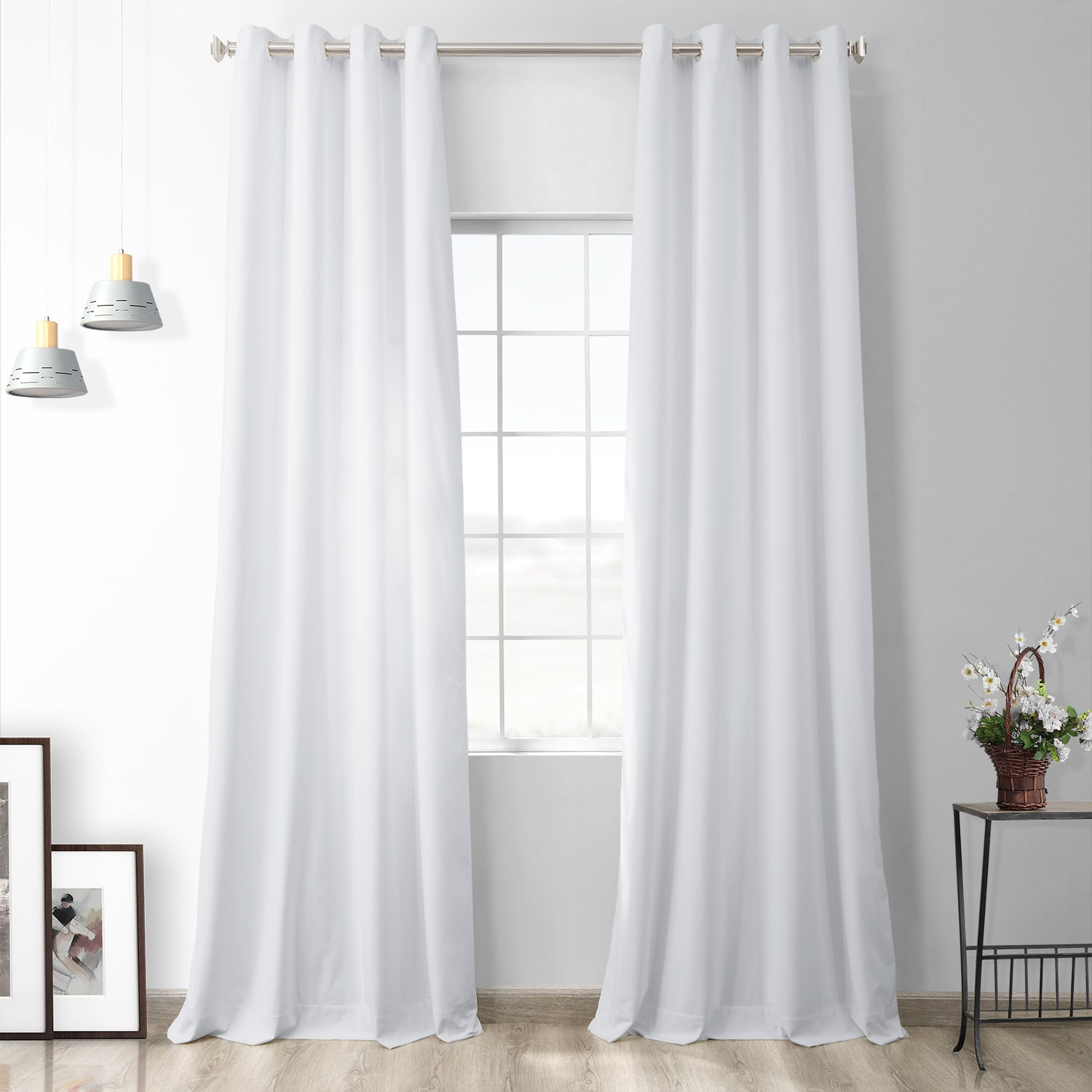 Pillow White Heritage Plush Velvet Grommet Curtain
