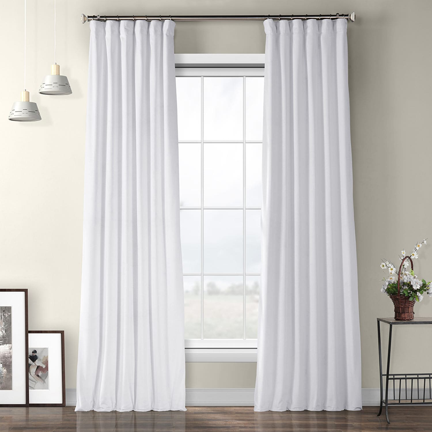 Pillow White Plush Velvet Curtain