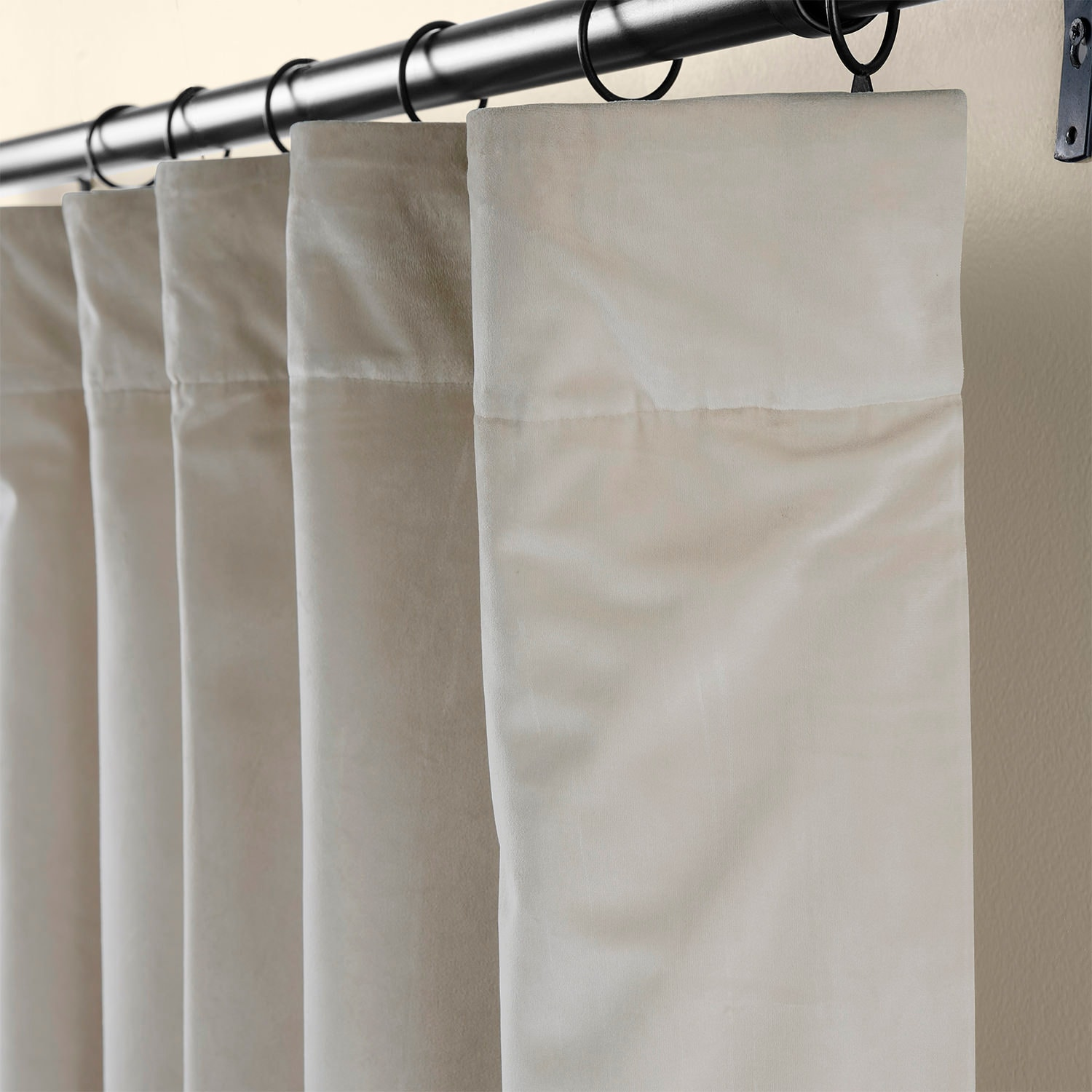 Light Beige Heritage Plush Velvet Curtain