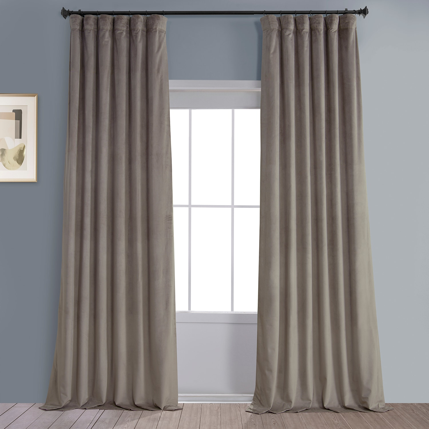 Gallery Taupe Plush Velvet Curtain