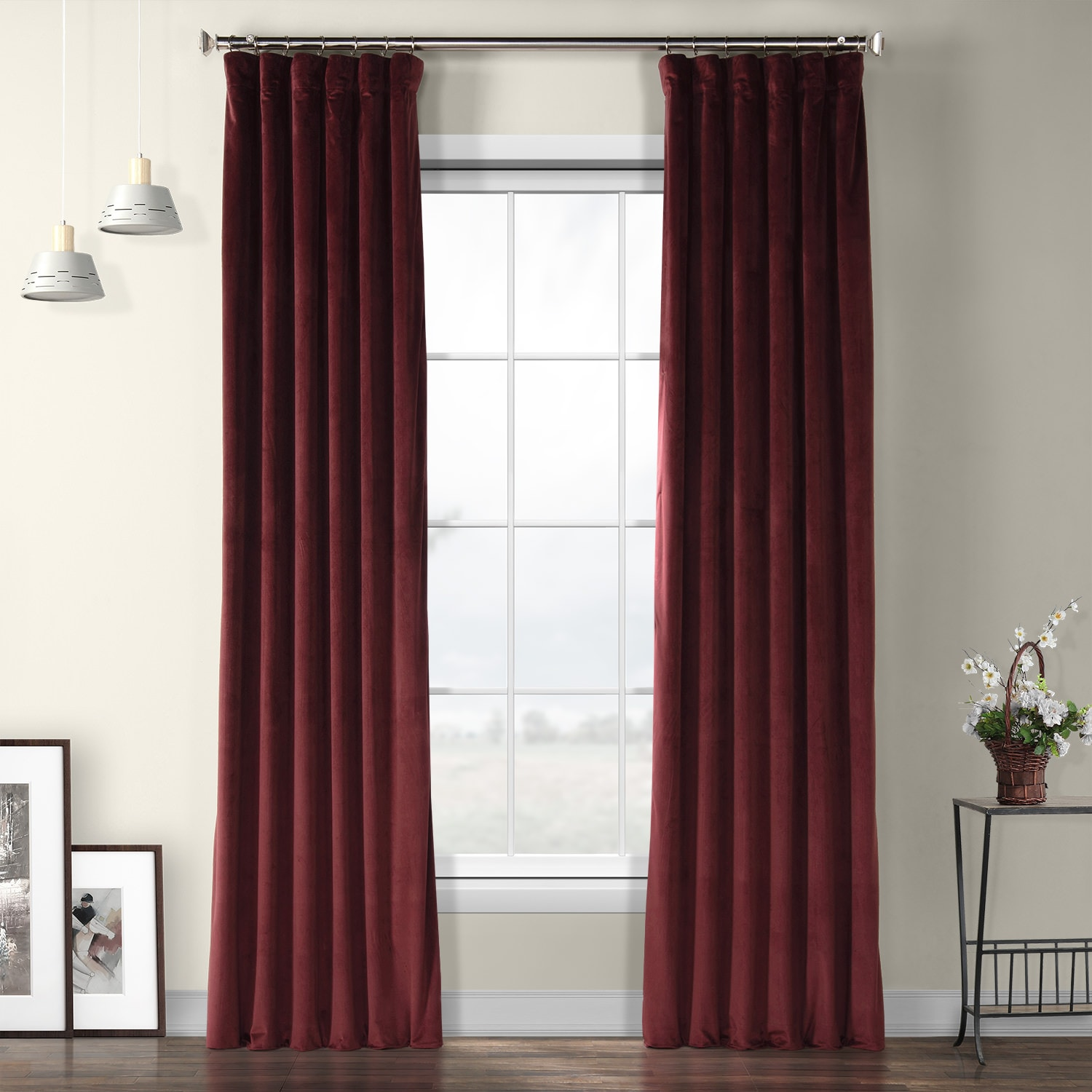 Dark Merlot Plush Velvet Curtain