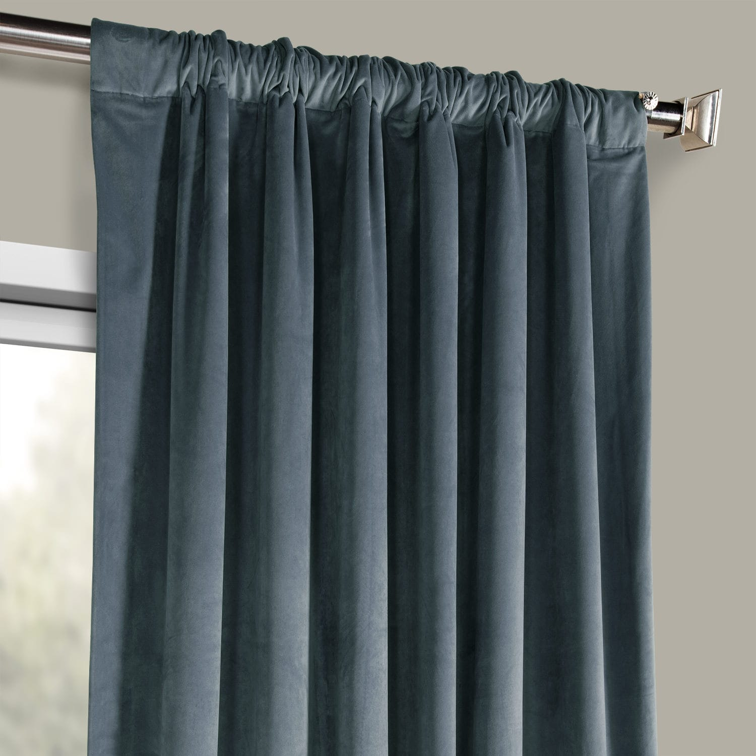 London Blue Plush Velvet Curtain