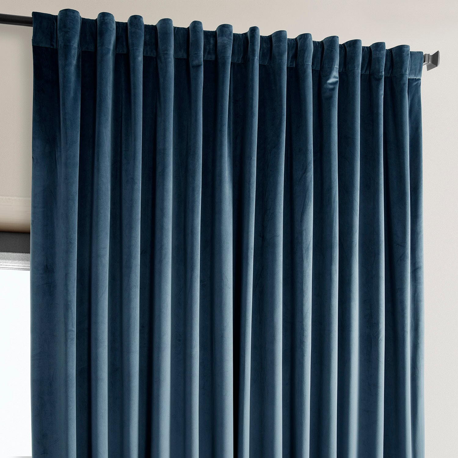 Avalon Blue Heritage Plush Velvet Extrawide Curtain