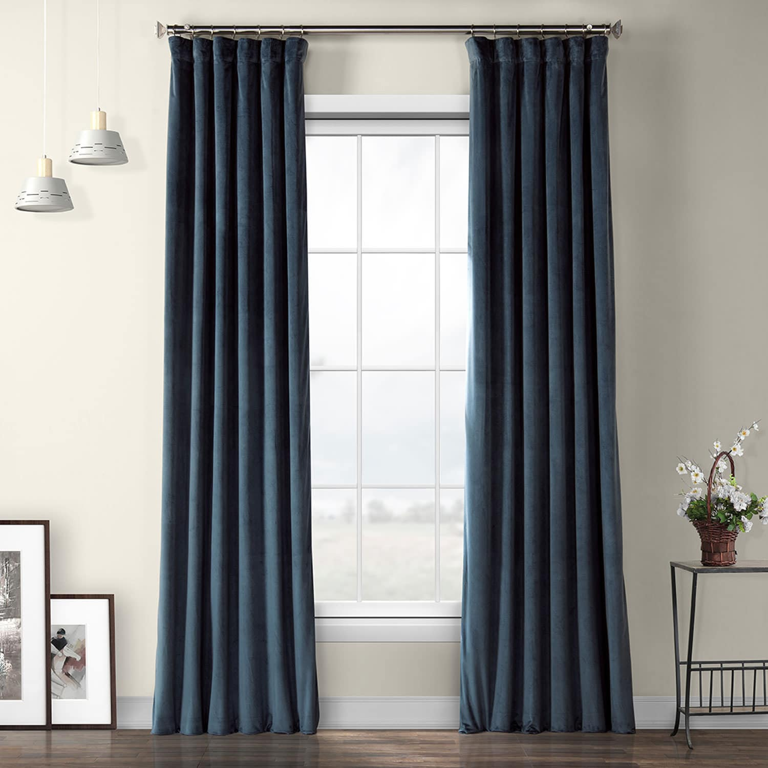 Avalon Blue Plush Velvet Curtain