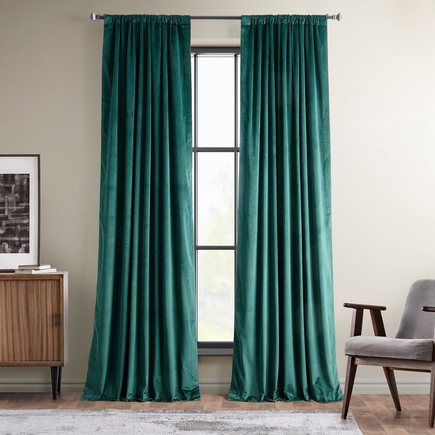 Forestry Green Heritage Plush Velvet Curtain