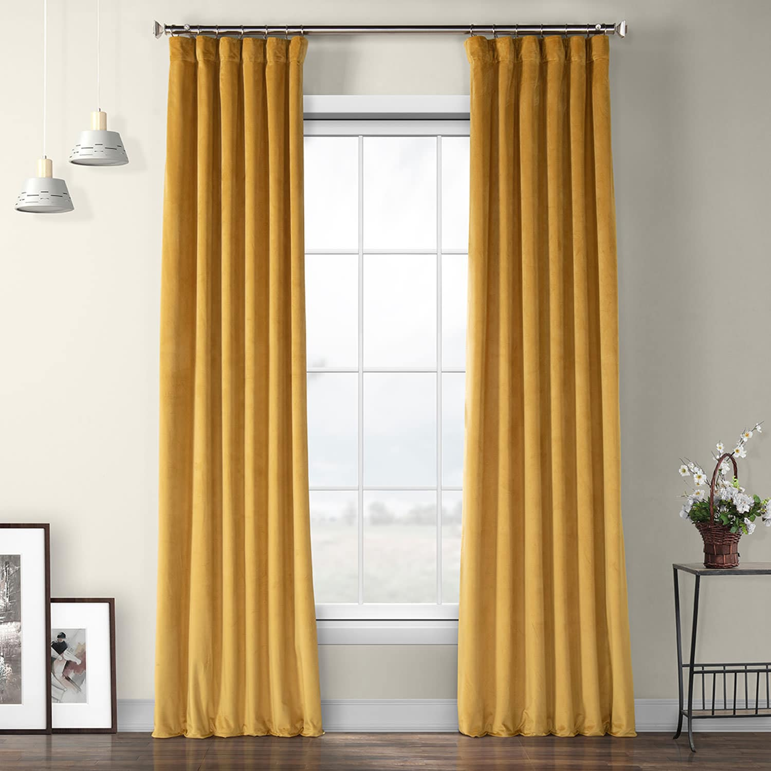 Aztec Gold Heritage Plush Velvet Curtain